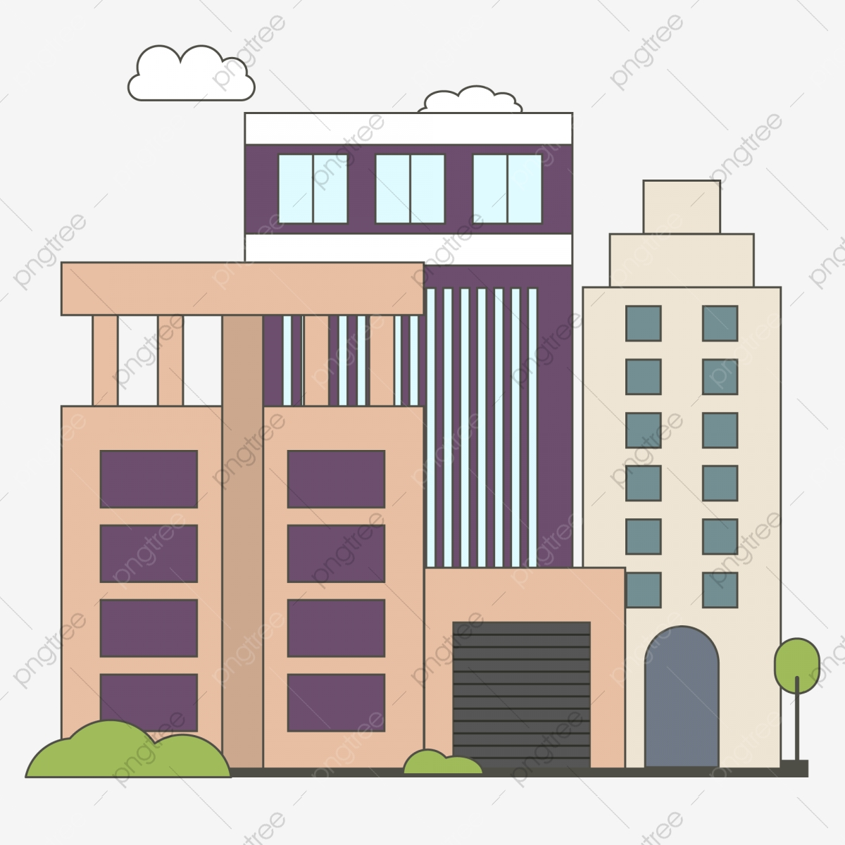 Cartoon Wind City Office Building Greening Office Building City Property Apartment City Building Png And Vector With Transparent Background For Free Download