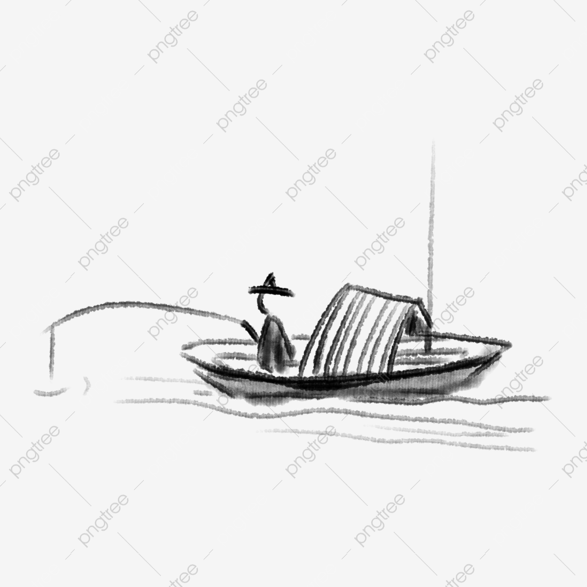 Chinese Style Ink Painting Chinese Wind Fishing Boat Hand Drawn Fishing Boat Cartoon Fishing Boat Ink Stick Figure Png Transparent Clipart Image And Psd File For Free Download