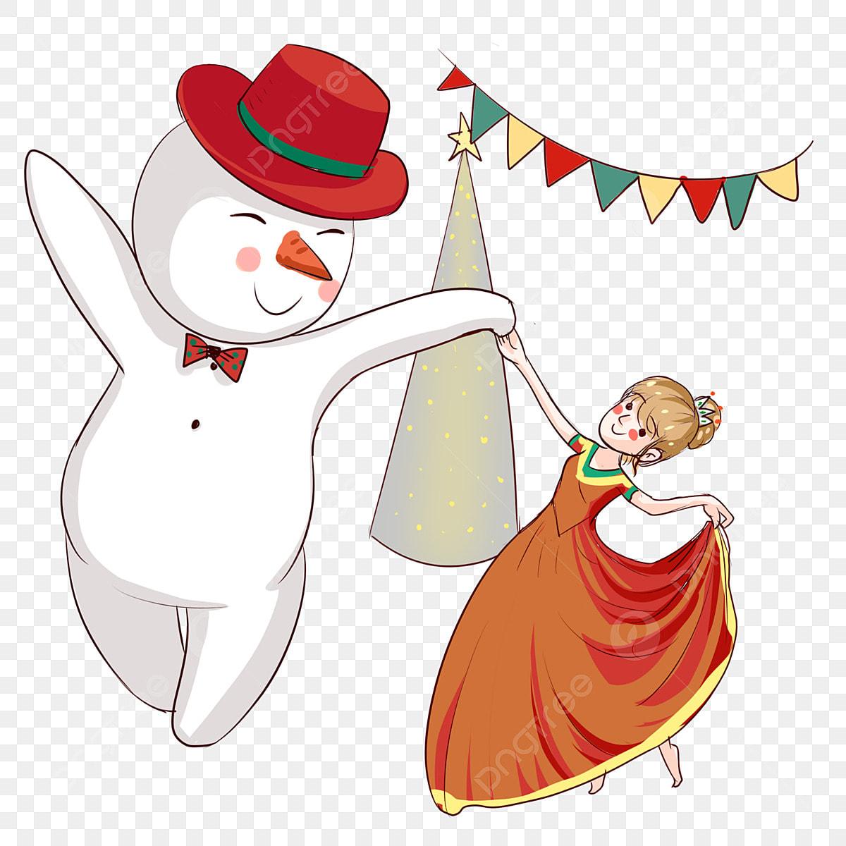 Christmas Dancing Cartoon.Christmas Ball Snowman Hand Drawn Snowman Cartoon Girl