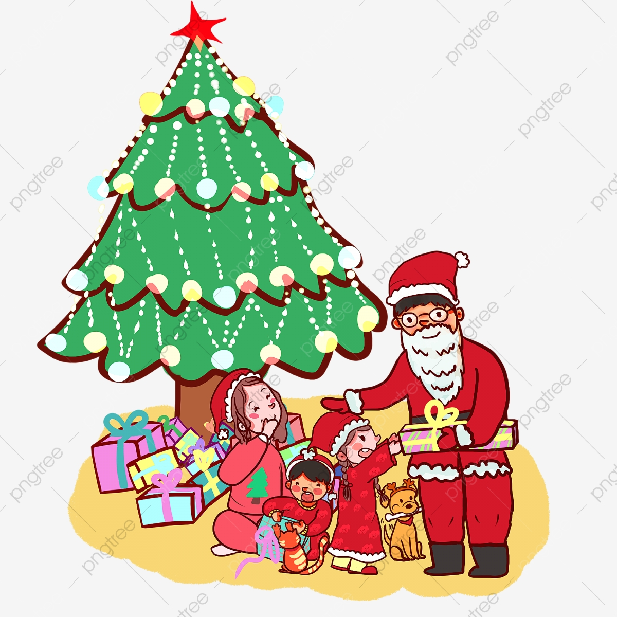 Krismas Tangan Kartun Ditarik Keluarga Yang Hangat Santa