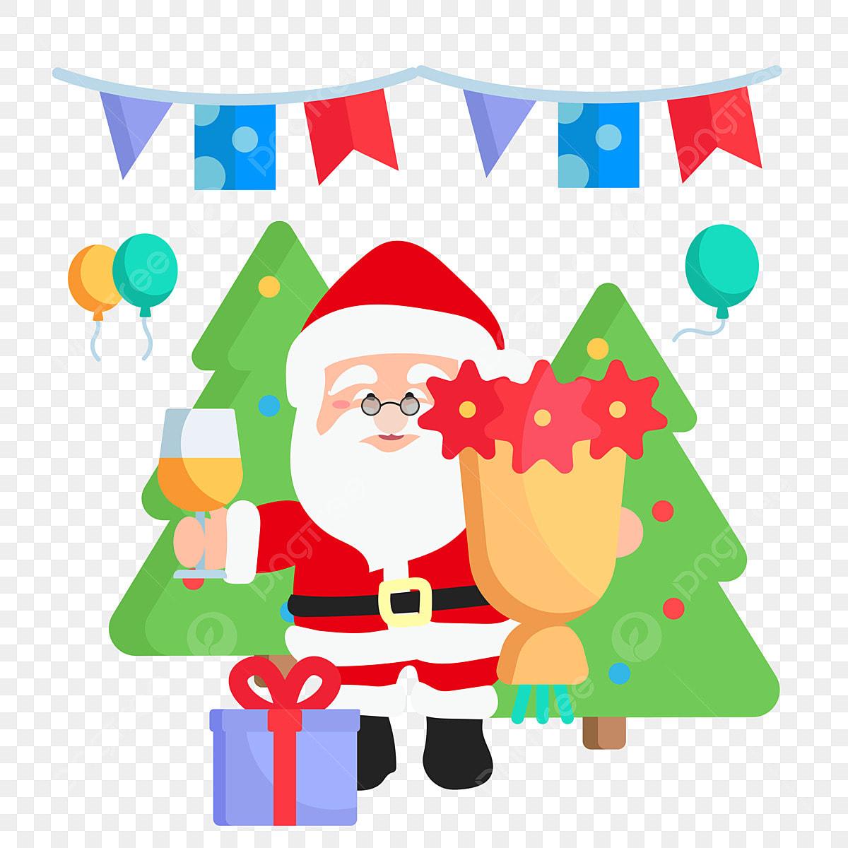 Christmas Celebration Cartoon Images.Christmas Celebration Santa Claus Joy Christmas Tree Gift