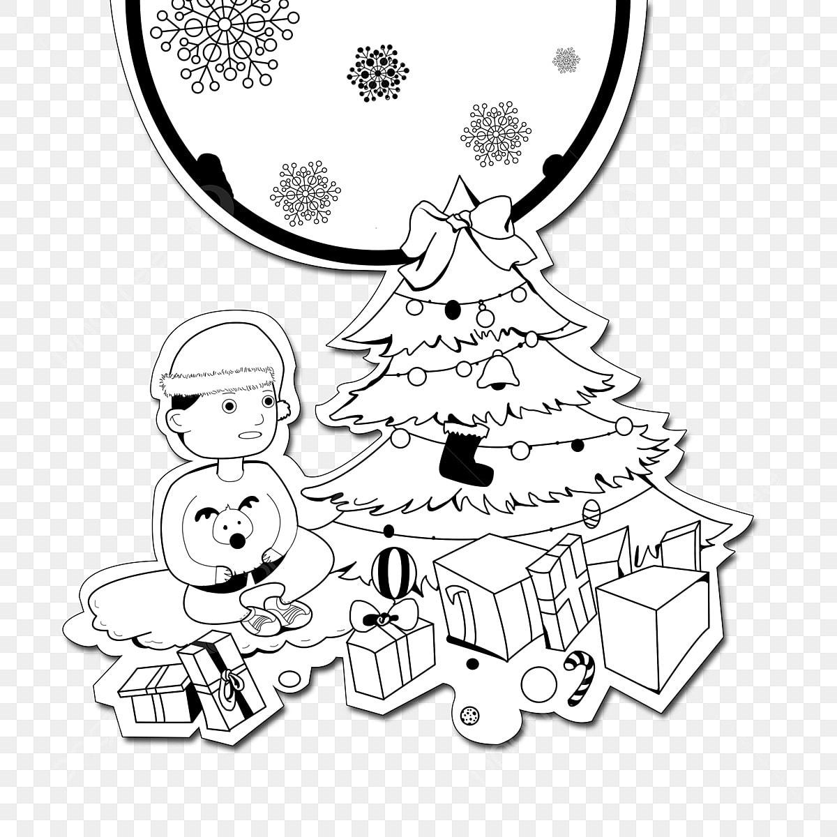 Gambar Tangan Bergambar Hitam Dan Putih Kad Adegan Natal Krismas Pokok Krismas Hadiah Festival Rumah Kartun Krismas Merry Krismas Ditarik Kartun Png Dan Psd Untuk Muat Turun Percuma