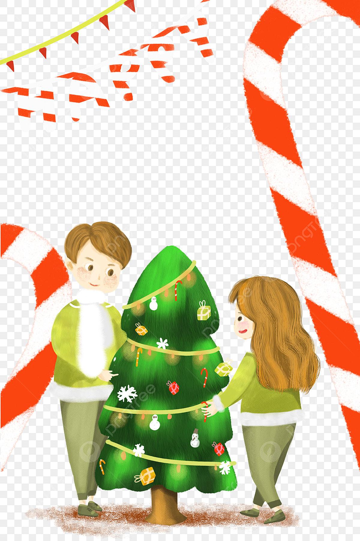 Navidad Dibujado A Mano Pareja Decorar El árbol De Navidad