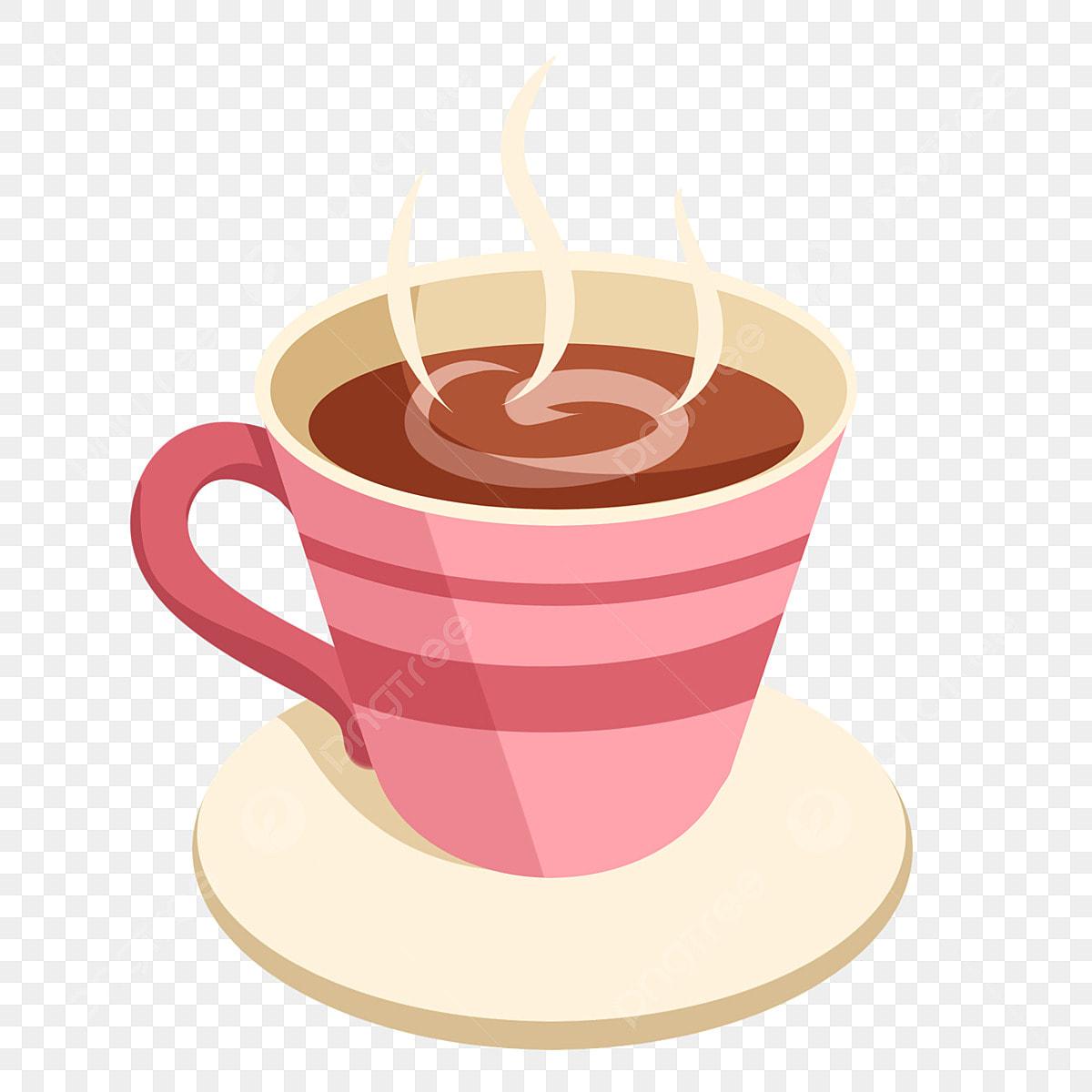 Coffee cup illustration. Drink pink macchiato hand