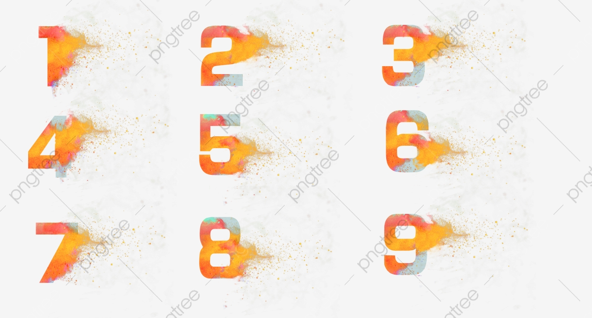 Color Number Watercolor Splashing Numbers Arabic Numerals, 1