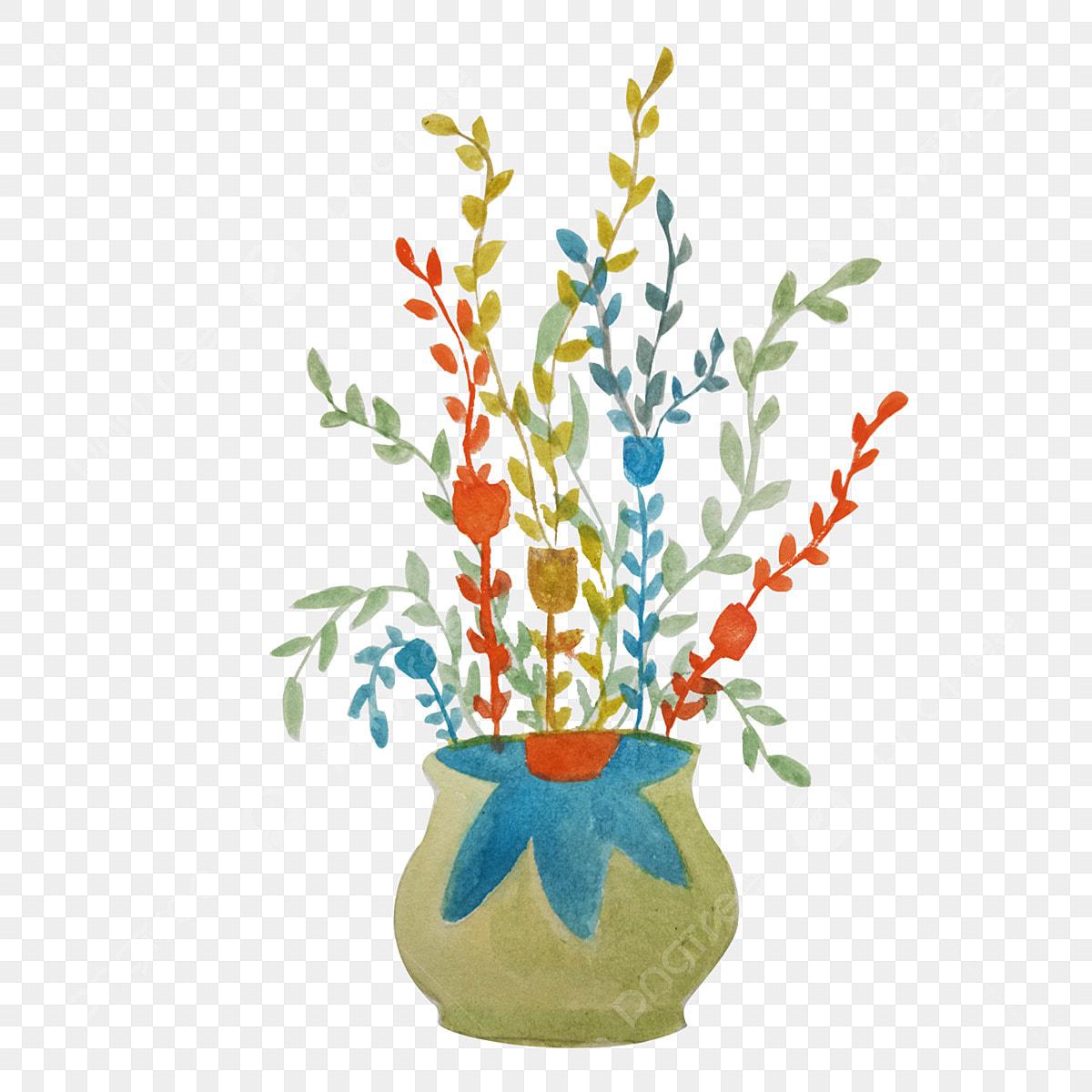 Plantas Em Vasos Coloridos Ilustracao Dos Desenhos Animados Mao