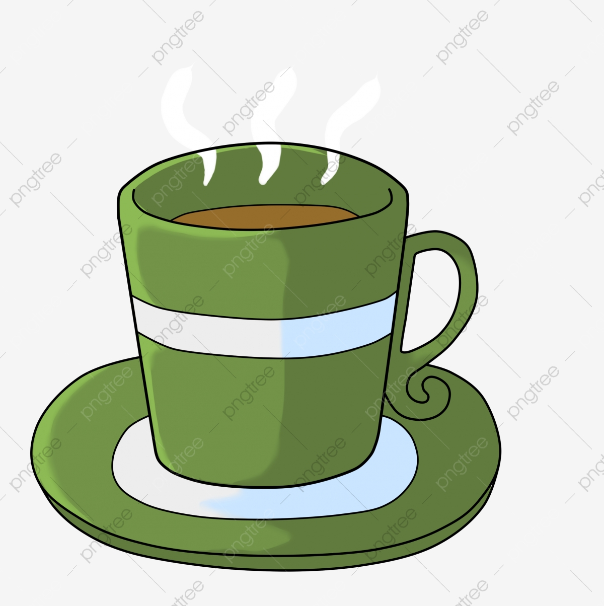 Cup Green Teacup Plate Tea, Coffee, Steaming, Color PNG ...