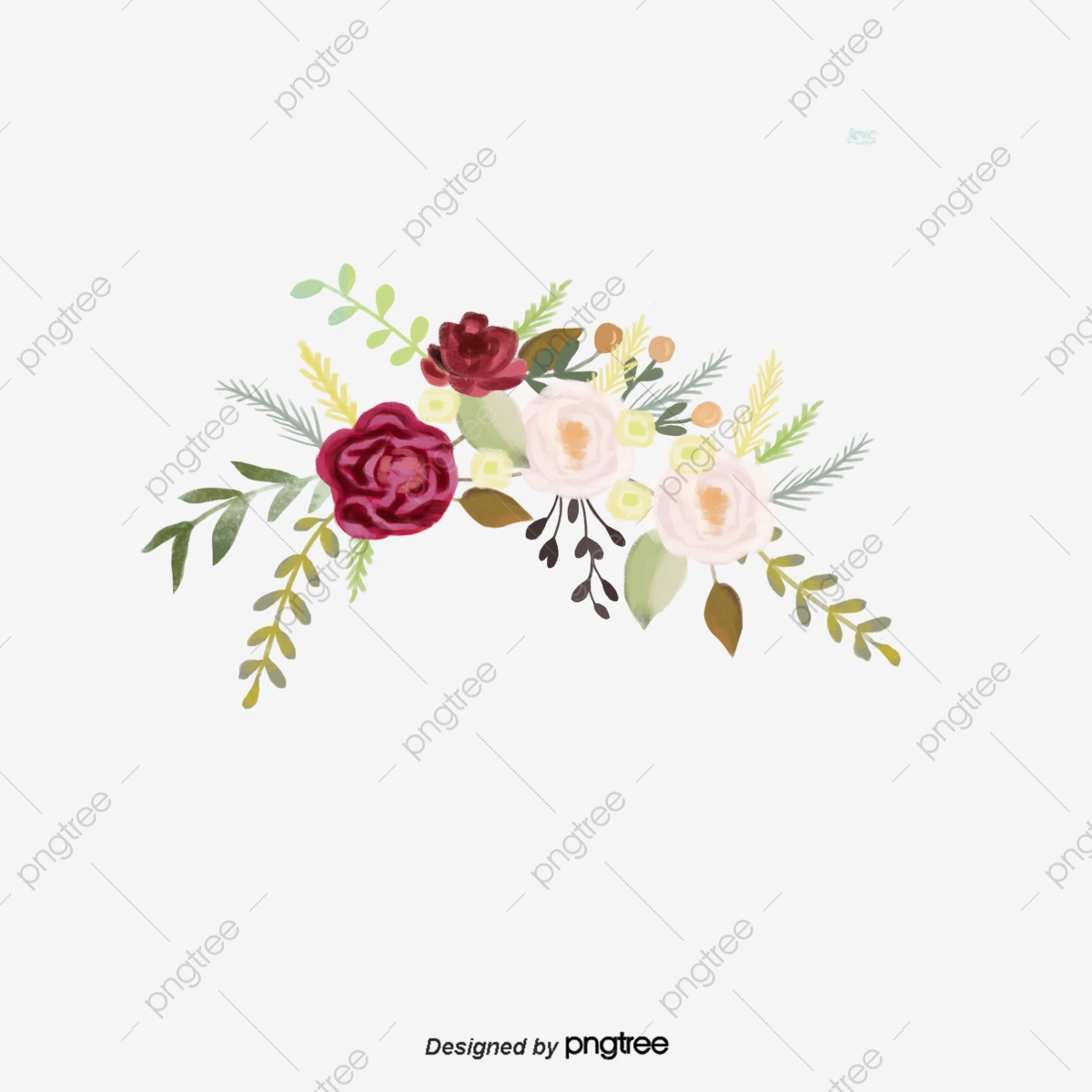 Dark Red Burgundy Flower Decorative Illustration Border Burgundy