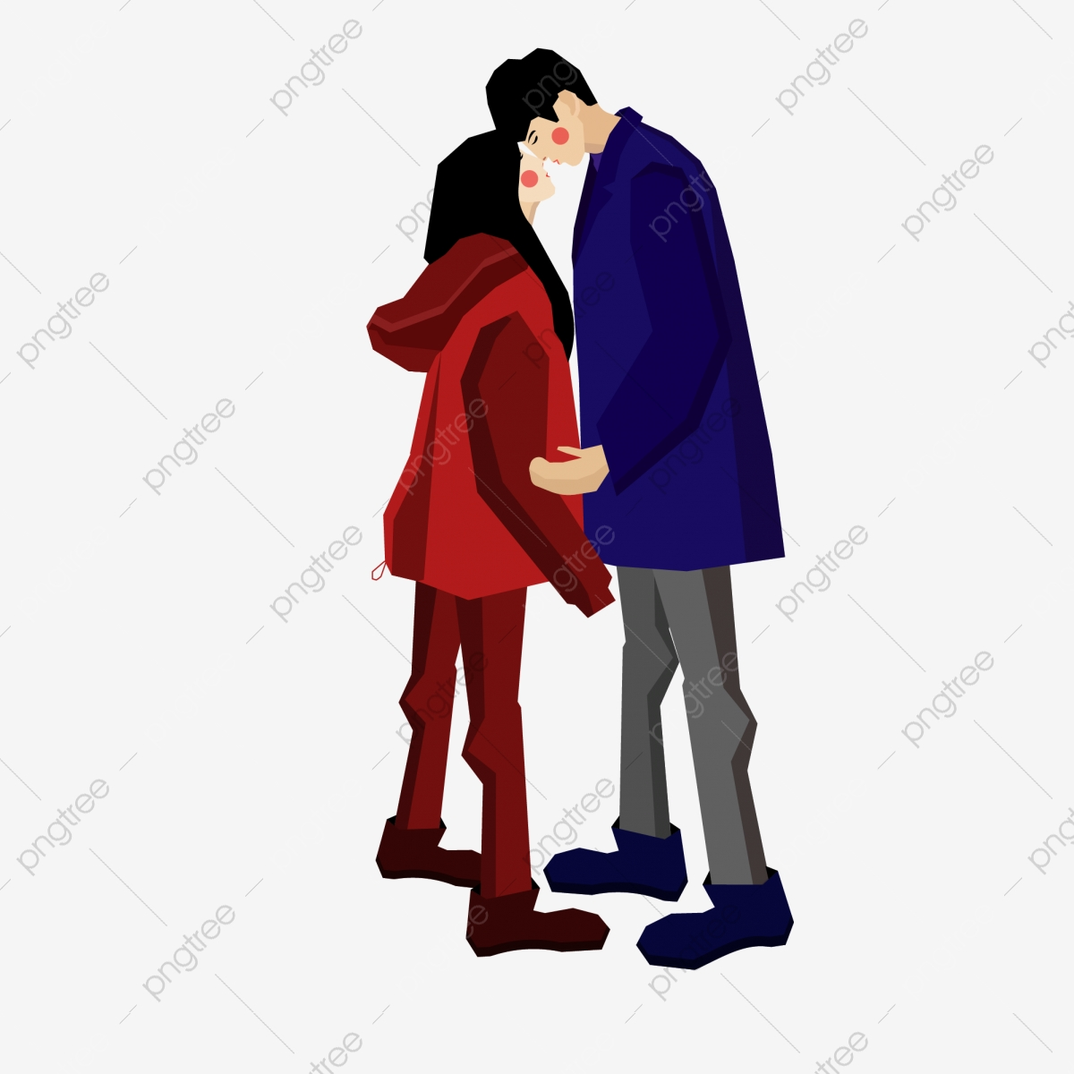 Dating Couple Kiss Cartoon Hand Drawn Couple Wear Character Happy Love Png And Vector With Transparent Background For Free Download