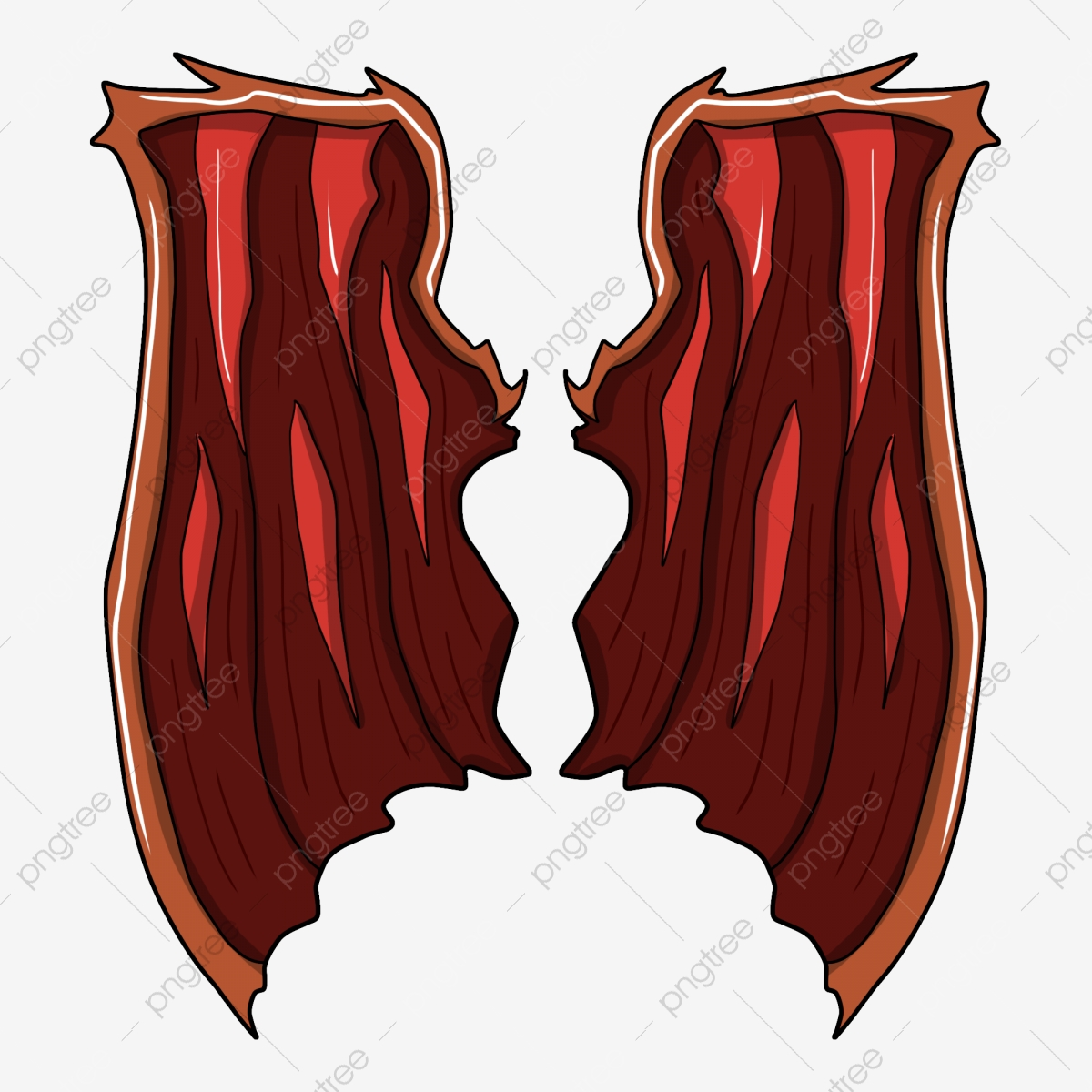 Devils Wings Illustrator Hand Painted Red Wings Red Demon Wing