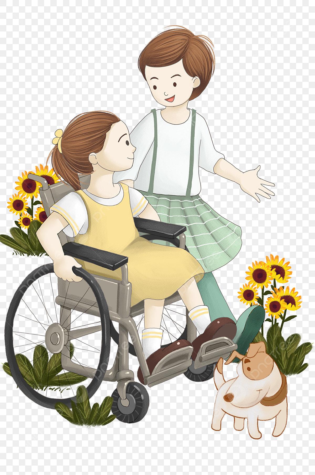 Journée Handicapée Petite Fille En Fauteuil Roulant