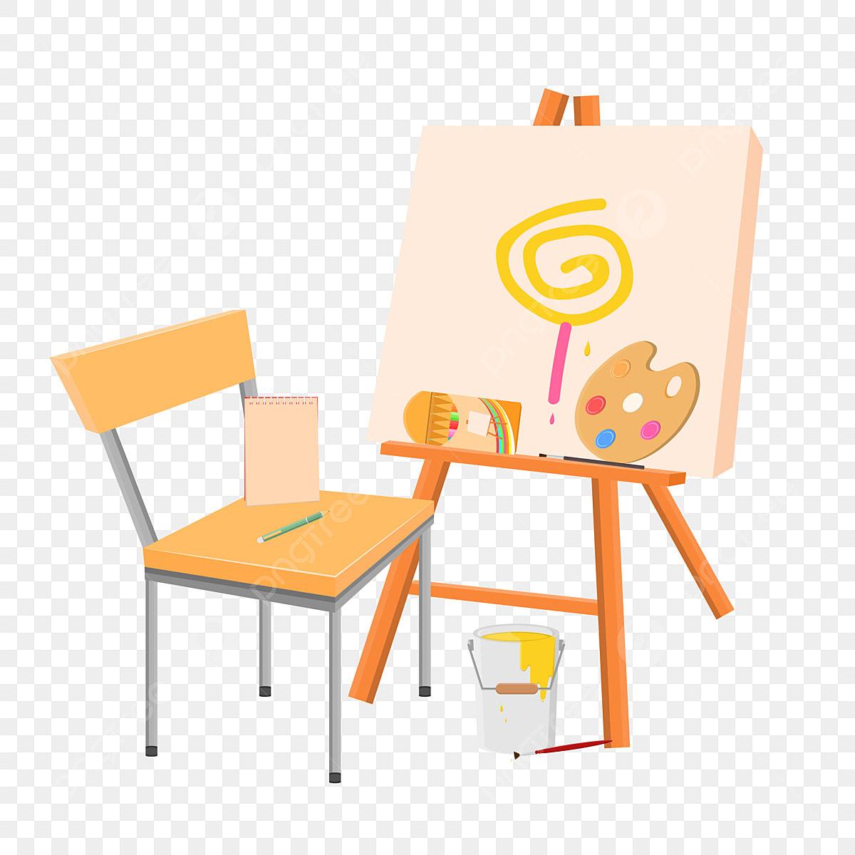 Handgemalte Kunstmalerei Staffelei Stuhl Palette Pinsel