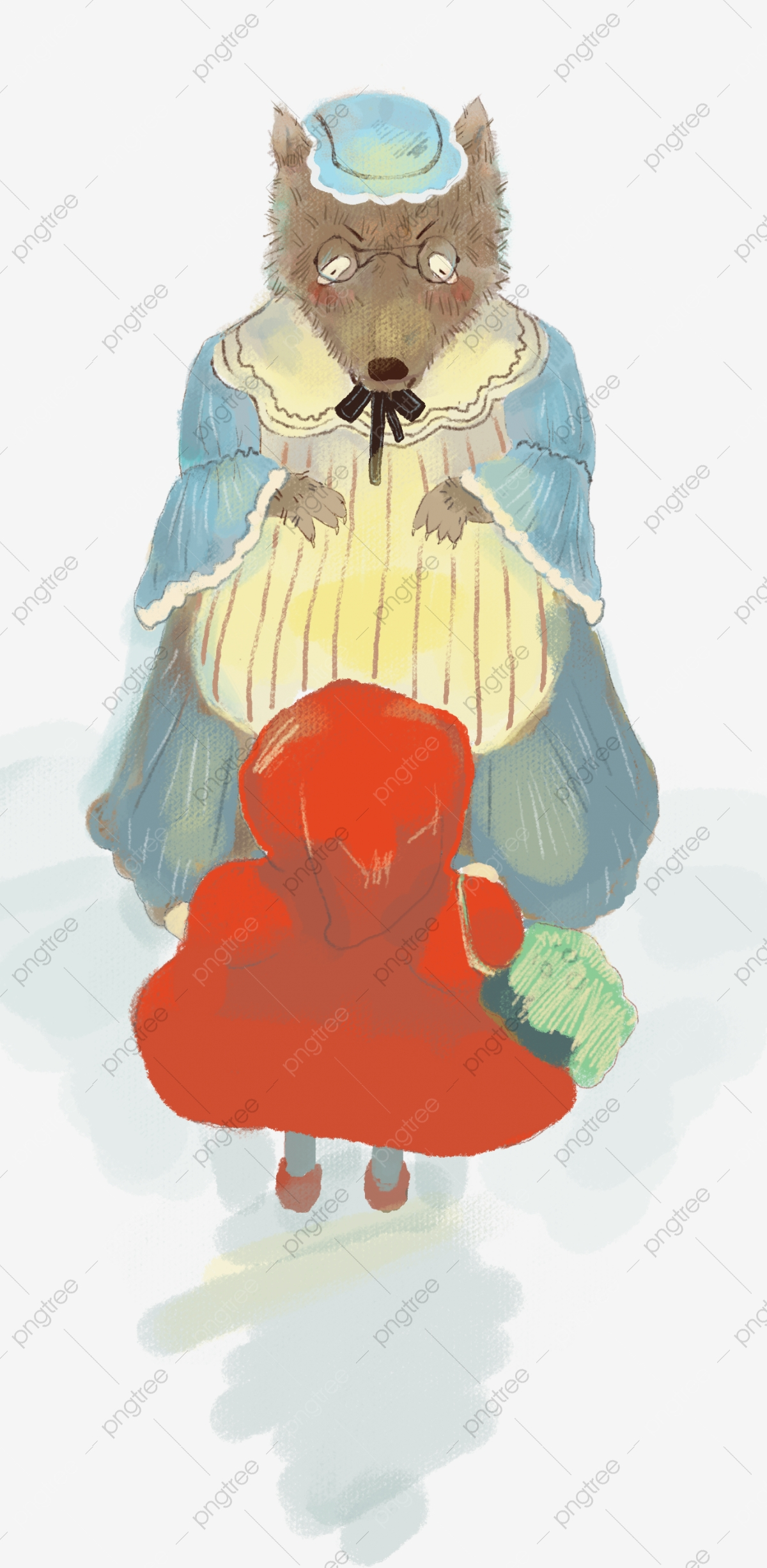 Fairy Tale Cartoon Hand Drawn Wolf Grandmother Little Red Riding
