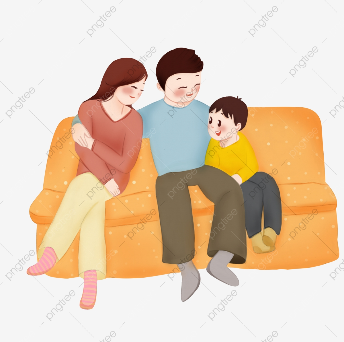 Family Together Happy Family Cartoon Illustration Hand Drawn Reunion Illustration Yellow Sofa Kind Parent Family Together Png Transparent Clipart Image And Psd File For Free Download