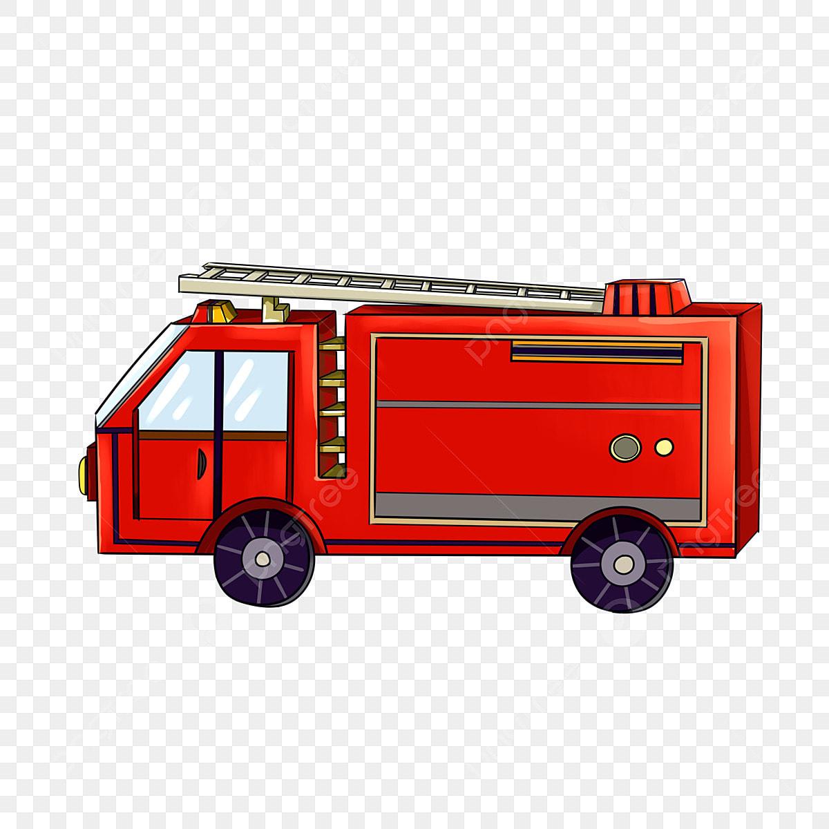 حريق شاحنة سيارة حمراء رجال الاطفاء مكافحة الحرائق أداة 119 كرتون مرسومة باليد أداة مكافحة الحريق Png وملف Psd للتحميل مجانا