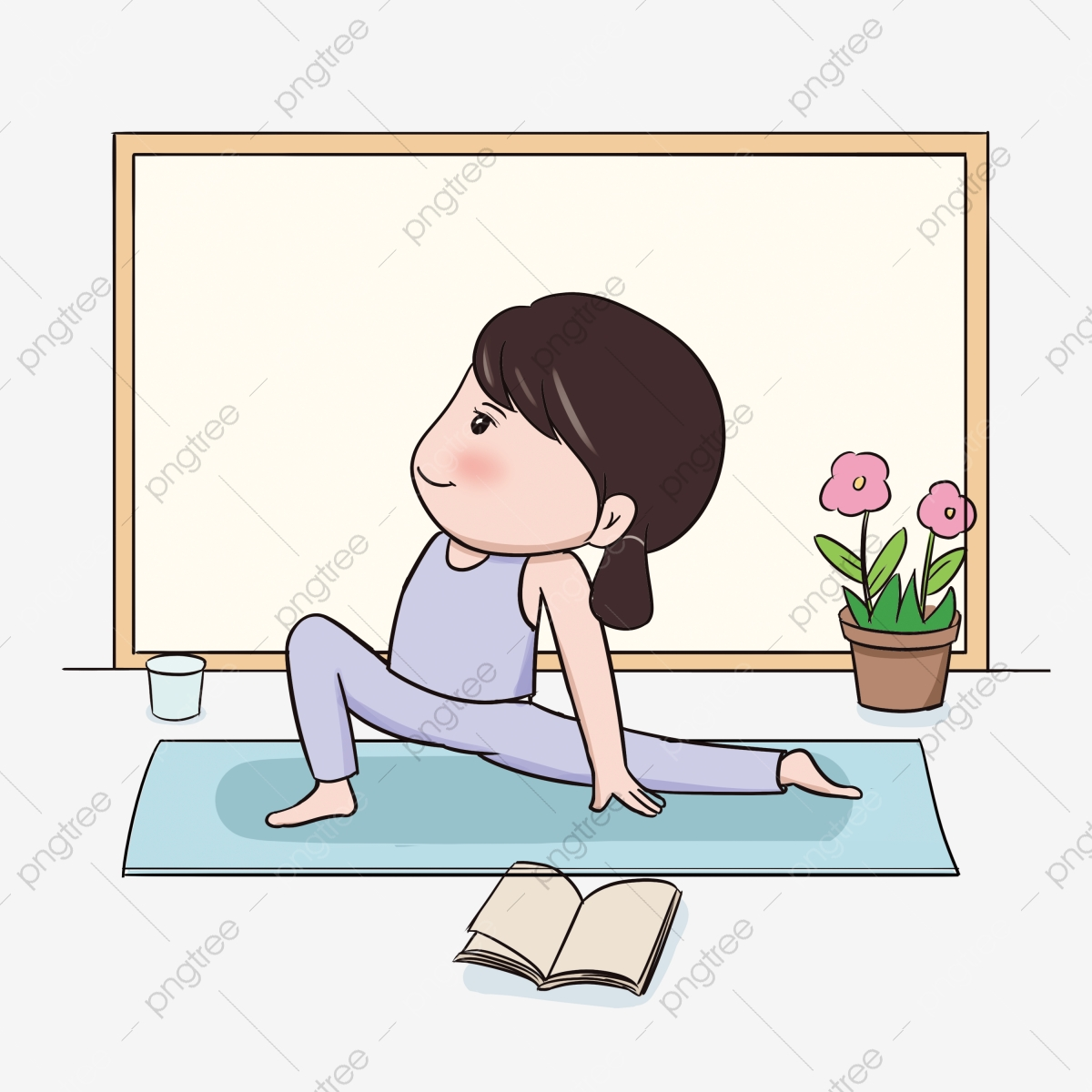 Fitness Body Action Posture Stretch Leg Movement Water Cup Flower Png Transparent Clipart Image And Psd File For Free Download