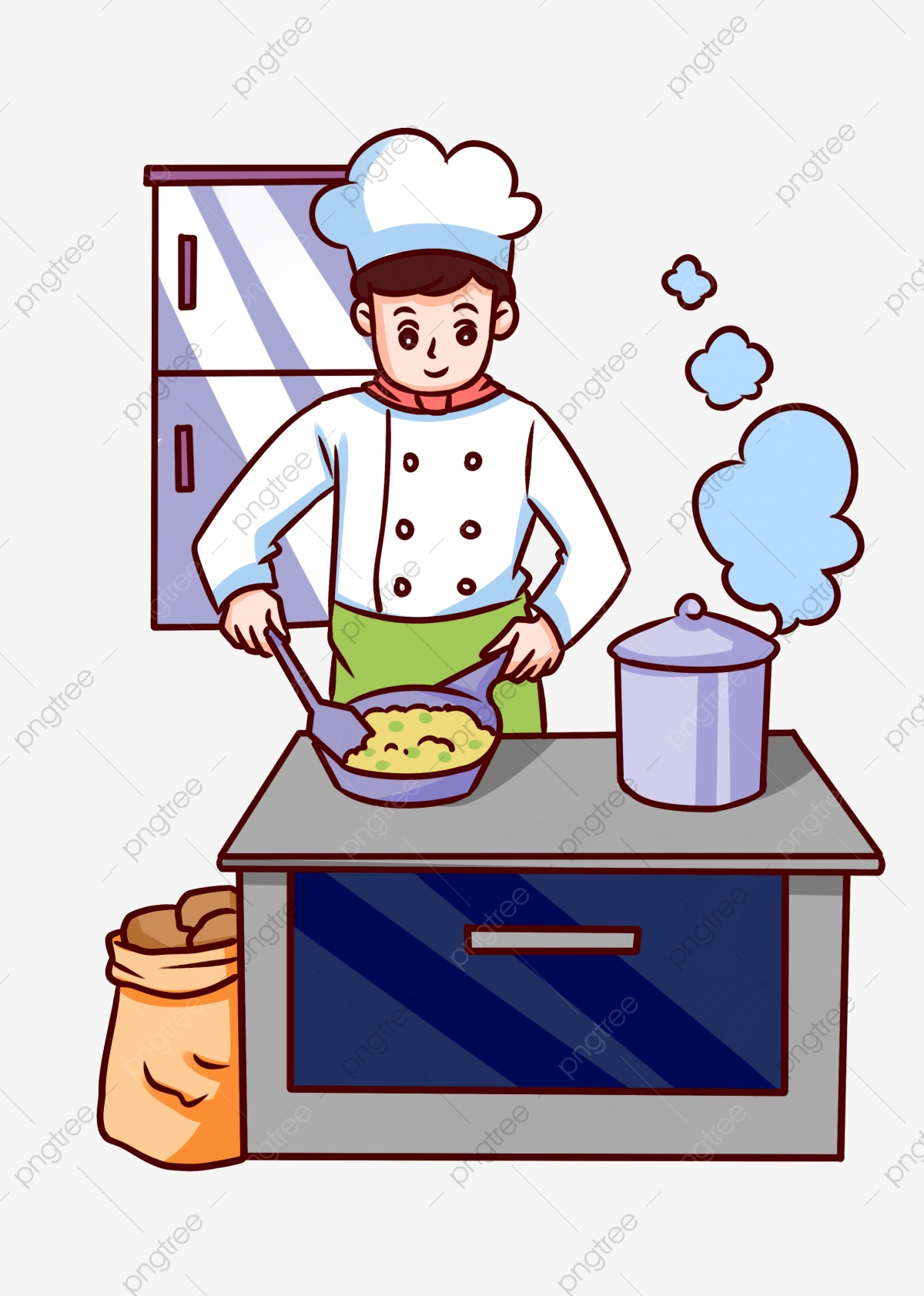food cooking chef making bread  illustration  hand painted