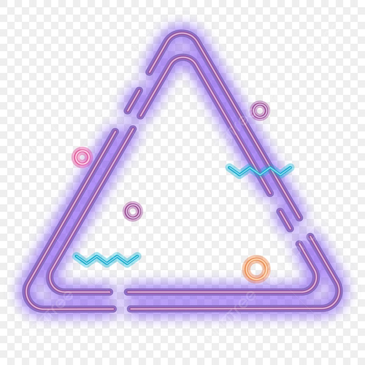 Frame Neon Light Effect Illuminate Triangle, Purple, Dream, Fashion