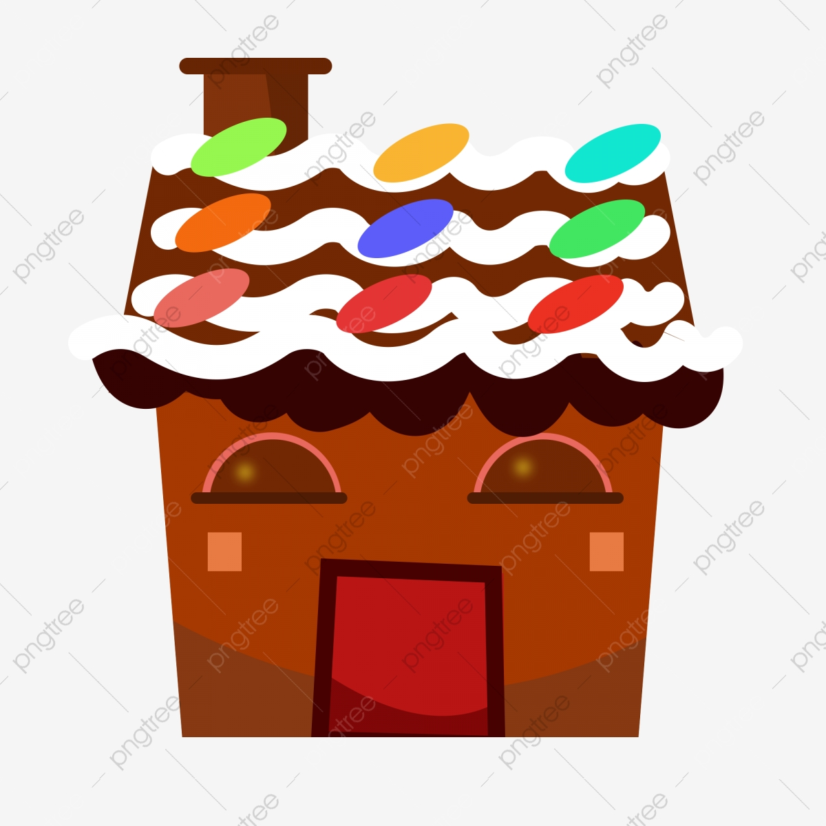 Christmas Gingerbread House Cartoon.Gingerbread House Color Christmas Hand Painted Illustration