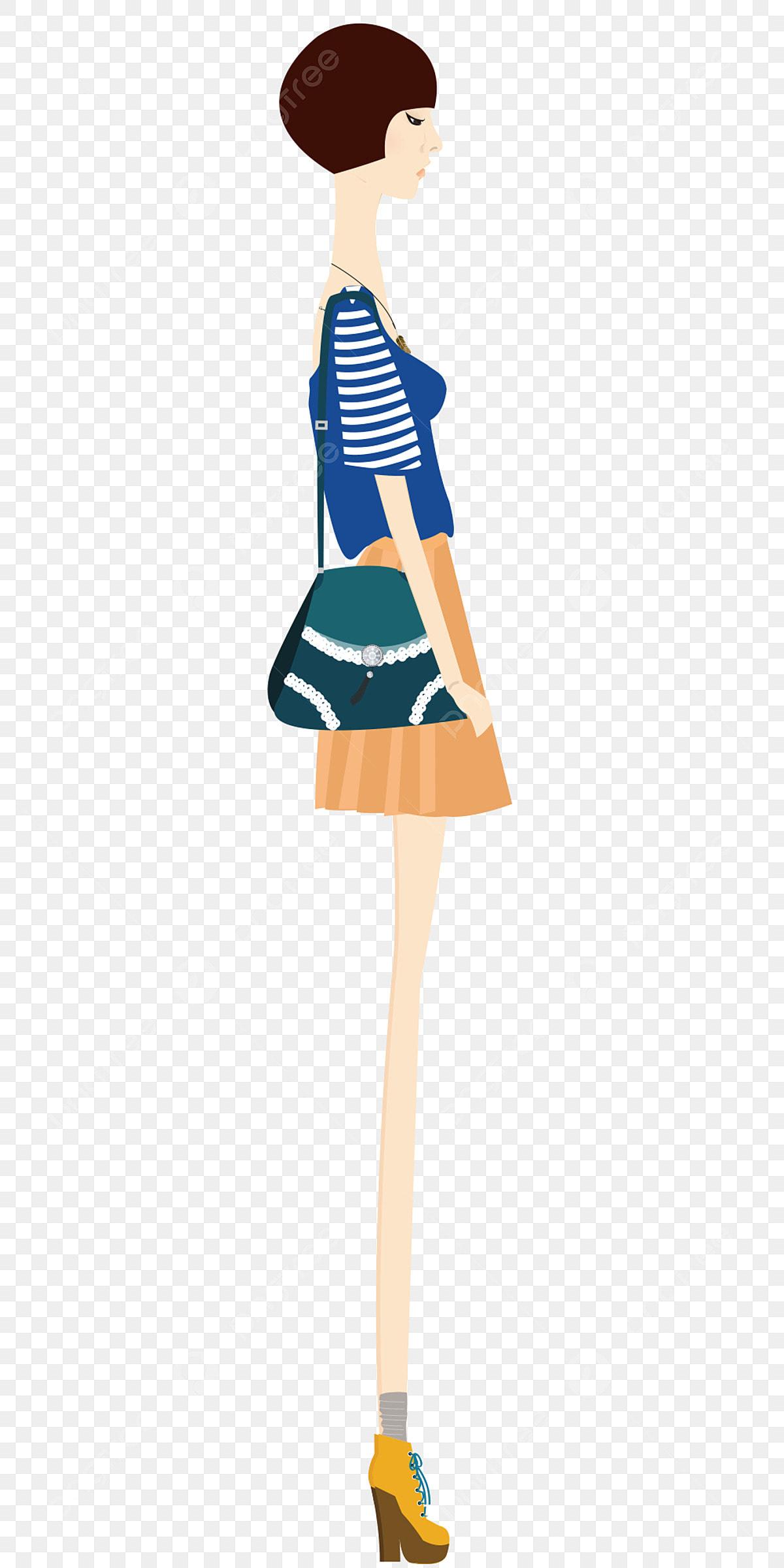 Mädchen Mode Kurze Haare Seite Mode Hand Gezeichnet