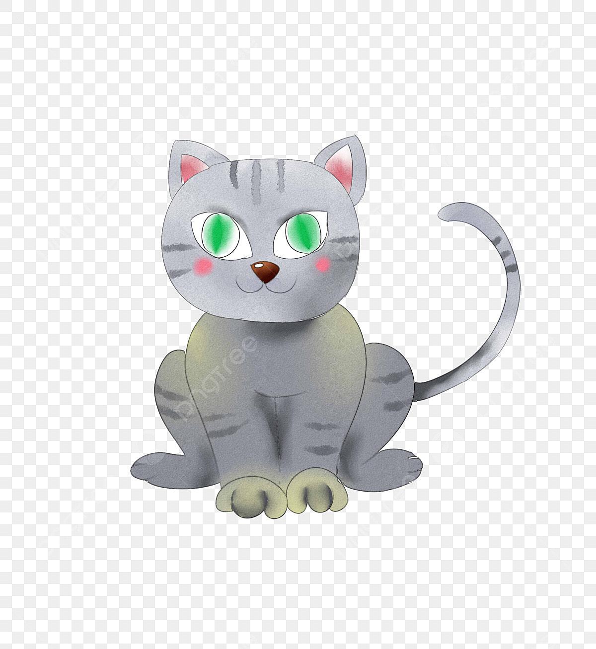 灰色の猫 緑色の目 手描きの子猫 漫画猫 手描きの灰色の子猫の