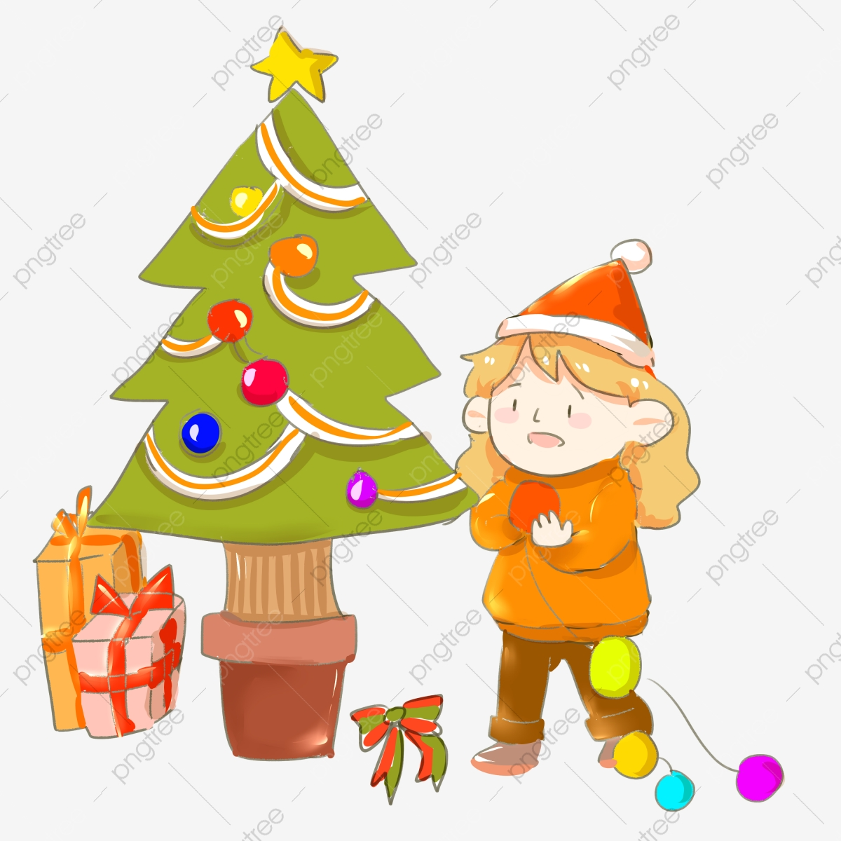 Green Christmas Tree Red Balloon Red Bow Pink Gift Box Cartoon Illustration Hand Drawn Christmas Illustration Green Christmas Tree Png Transparent Clipart Image And Psd File For Free Download