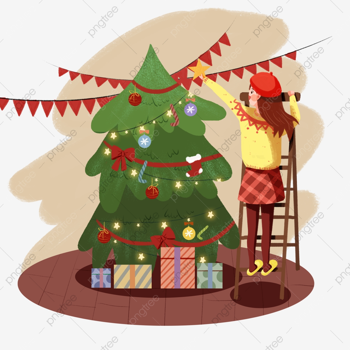 Tall Christmas Tree Cartoon.Green Christmas Tree Red Flag Tall Ladder Beautiful