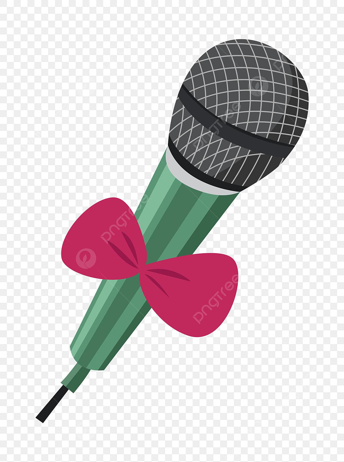 Micrófono Verde Lazo Rojo Hermoso Micrófono Ilustración De