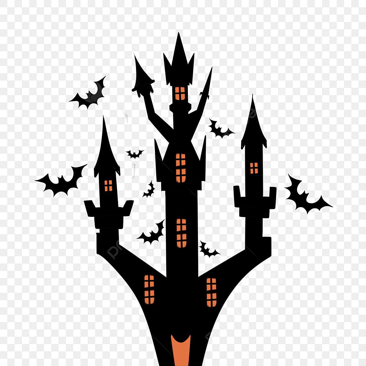 Halloween Thème Maison Hantée Noire Illustration Halloween
