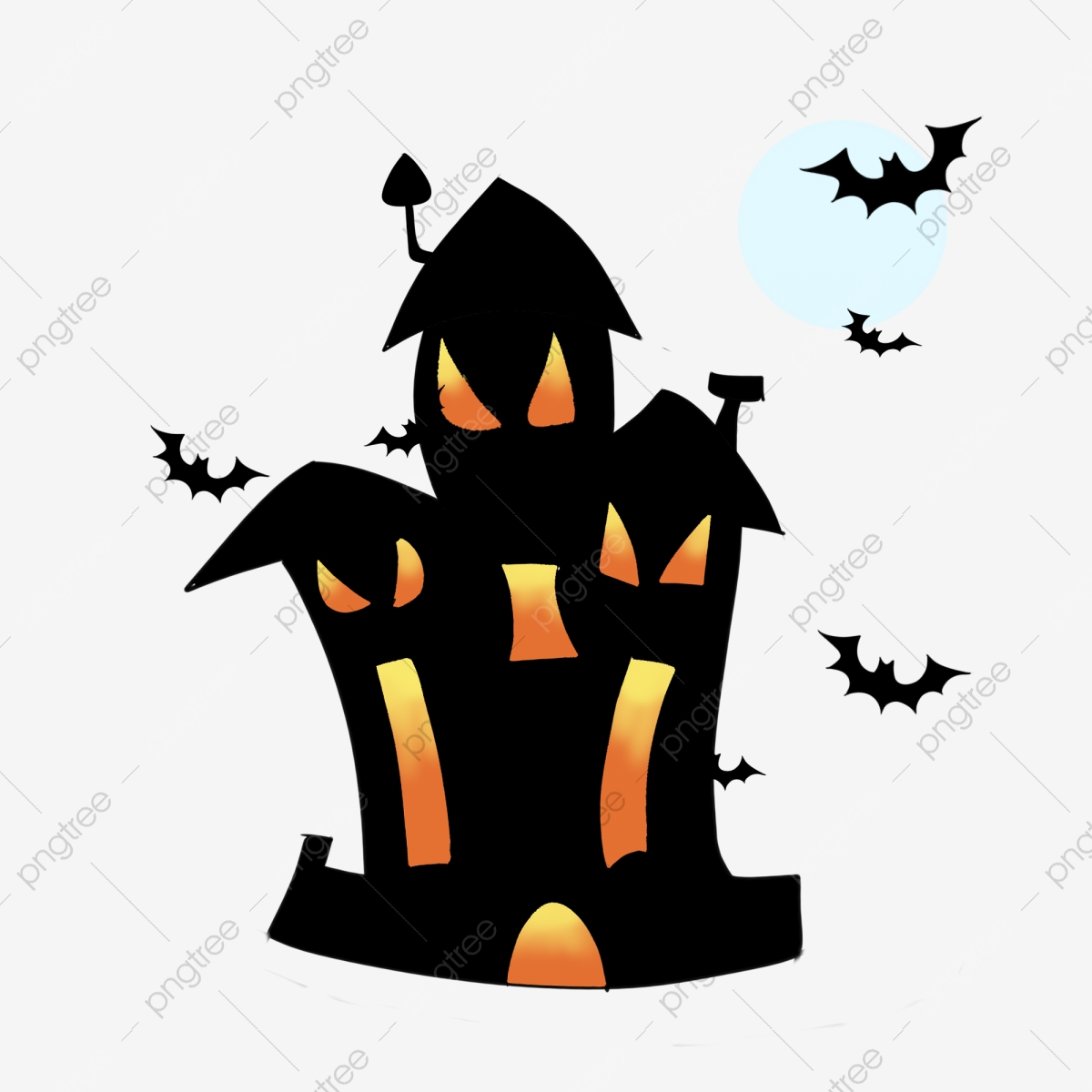 Halloween Thème Château De La Maison Hantée Illustration La