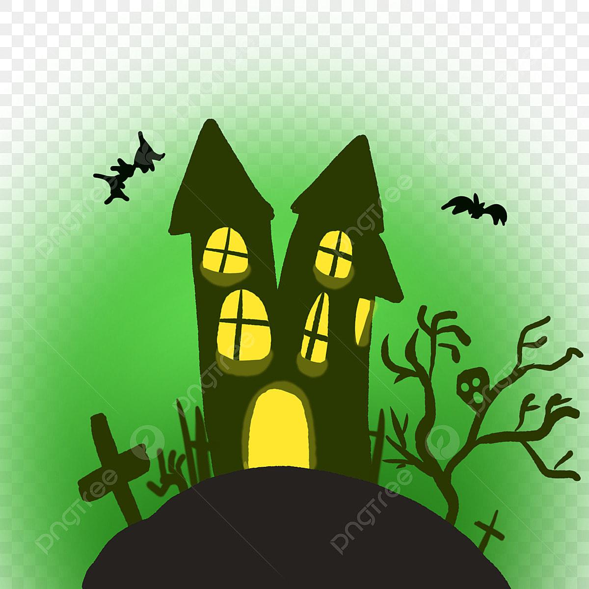 Halloween Thème Maison Hantée Maison Dessin Animé Halloween