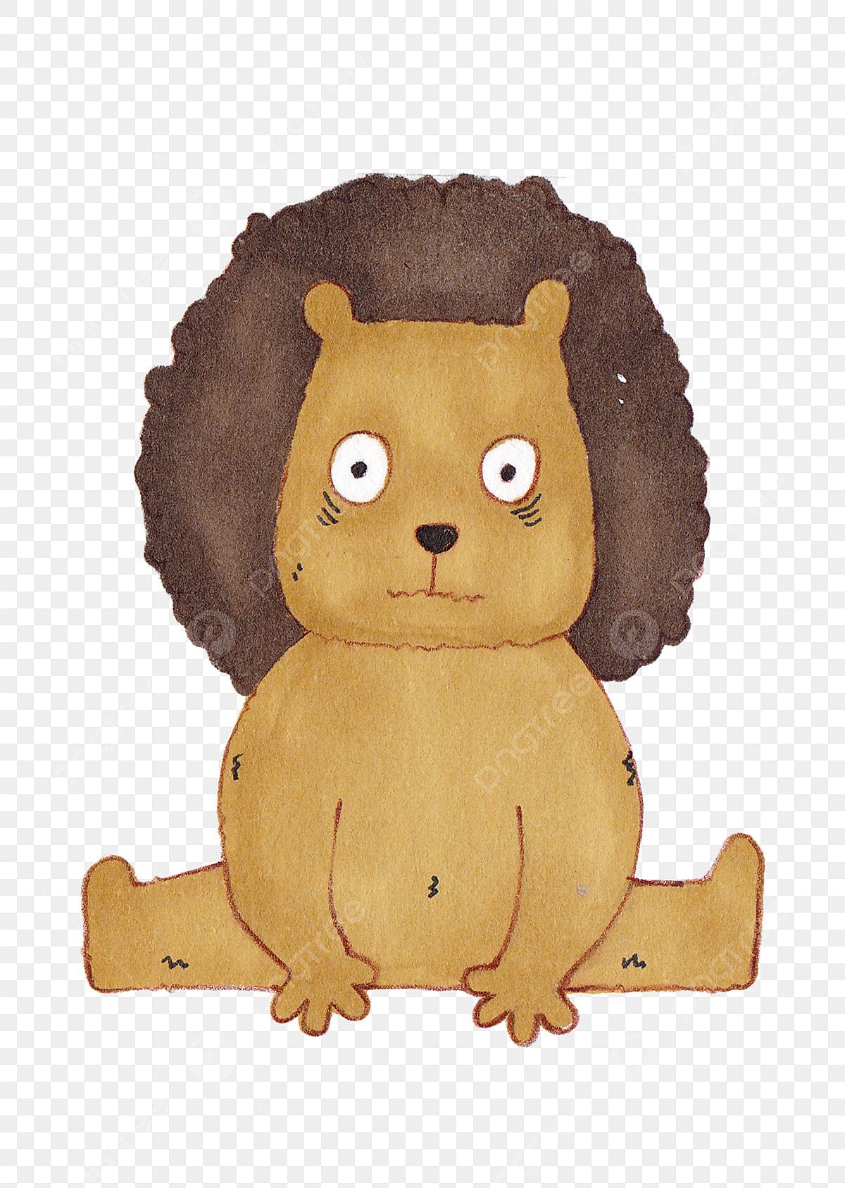 手描きのウインクライオンの図 手描きの動物イラスト