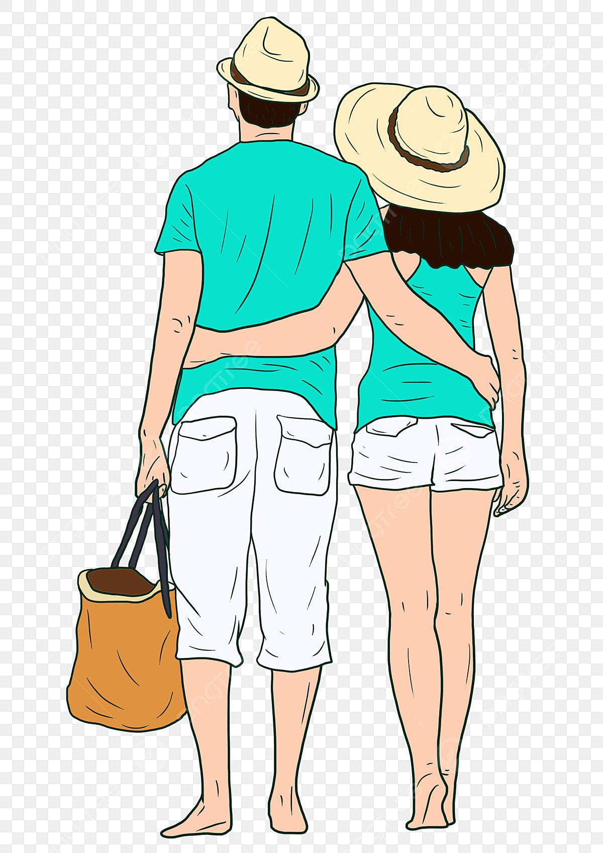Couple De Dessin Animé Dessiné à La Main étreignant Dos