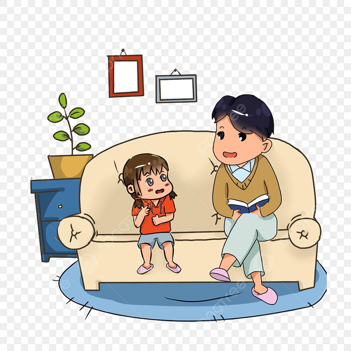 Gambar Tangan Ditarik Kartun Ayah Bercerita Kepada Anak Perempuannya Corak Hiasan Hari Bapa Kanak Kanak Hari Anak Anak Hari Anak Perempuan Corak Hiasan Png Dan Psd Untuk Muat Turun Percuma
