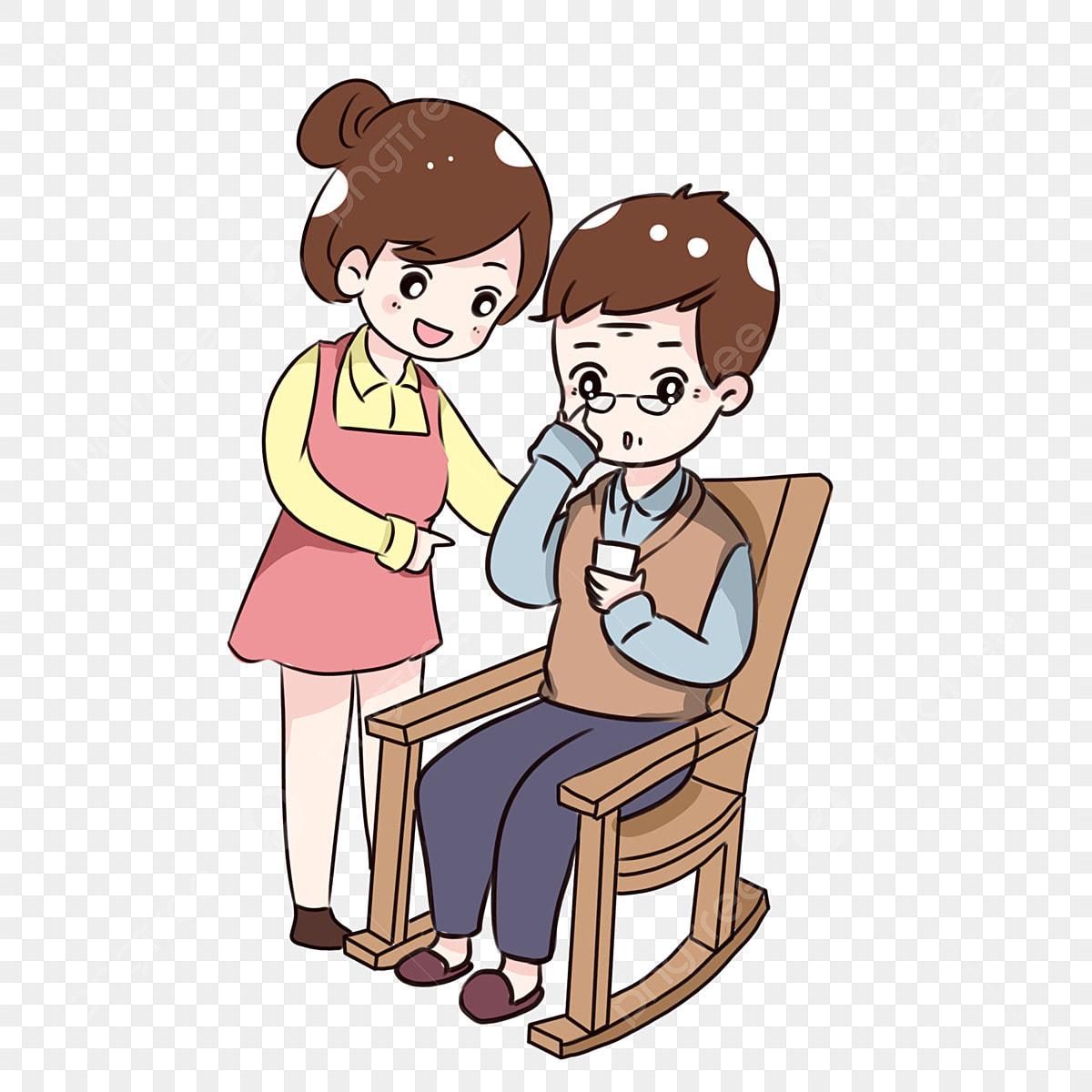 Gambar Tangan Ditarik Kartun Anak Perempuan Yang Mengajar Ayah Guna Telefon Bimbit Bakti Hari Bapa Mengajar Bapa Tua Untuk Menggunakan Telefon Bimbit Cute Q Versi Corak Hiasan Bapa Hari Png Dan Psd