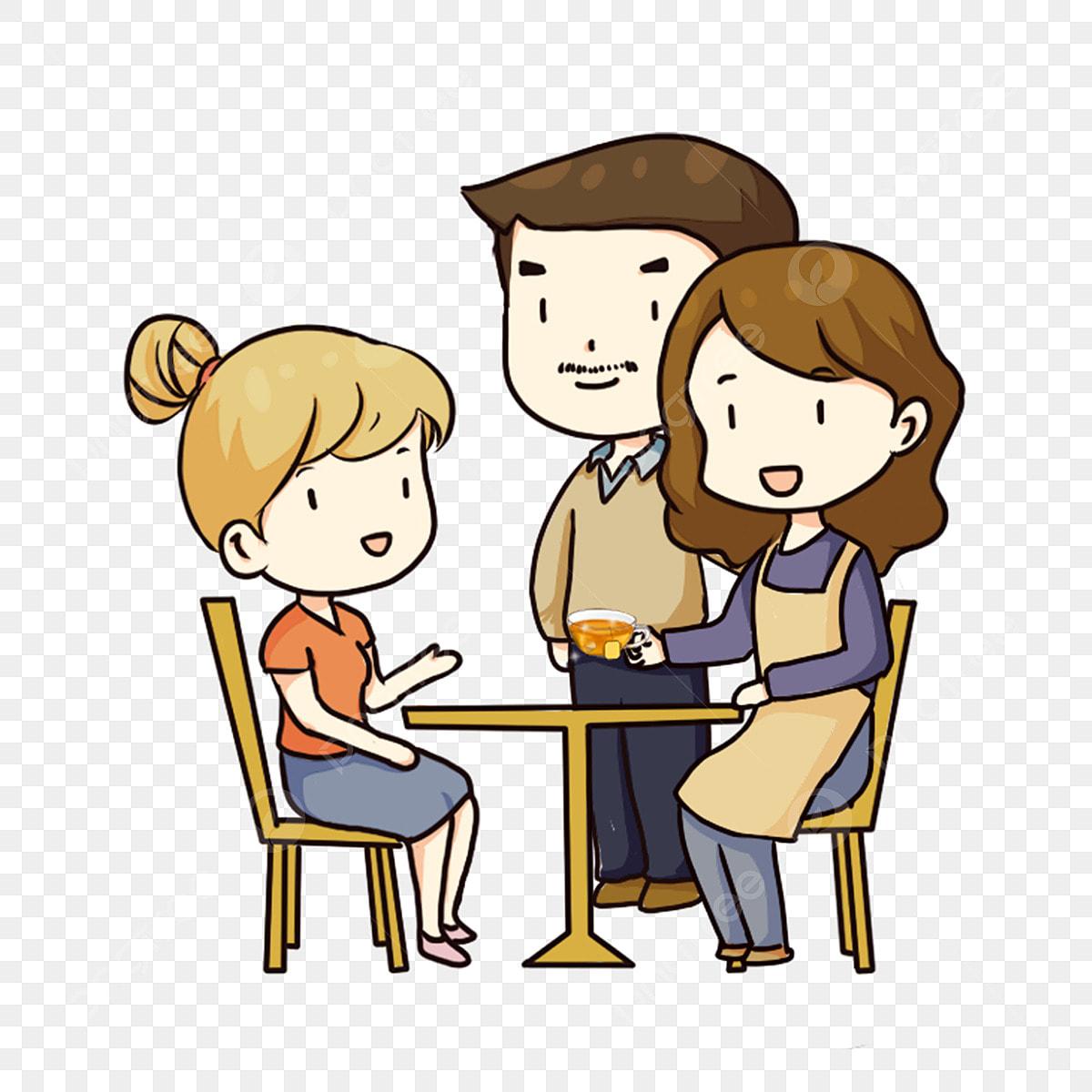 Gambar Tangan Ditarik Kartun Keluarga Berbual Anak Perempuan Akan Pulang Untuk Mengunjungi Ibu Bapa Menghormati Orang Tua Keluarga Perhimpunan Reka Bentuk Watak Kartun Comel Menghormati Orang Tua Png Dan Psd Untuk Muat