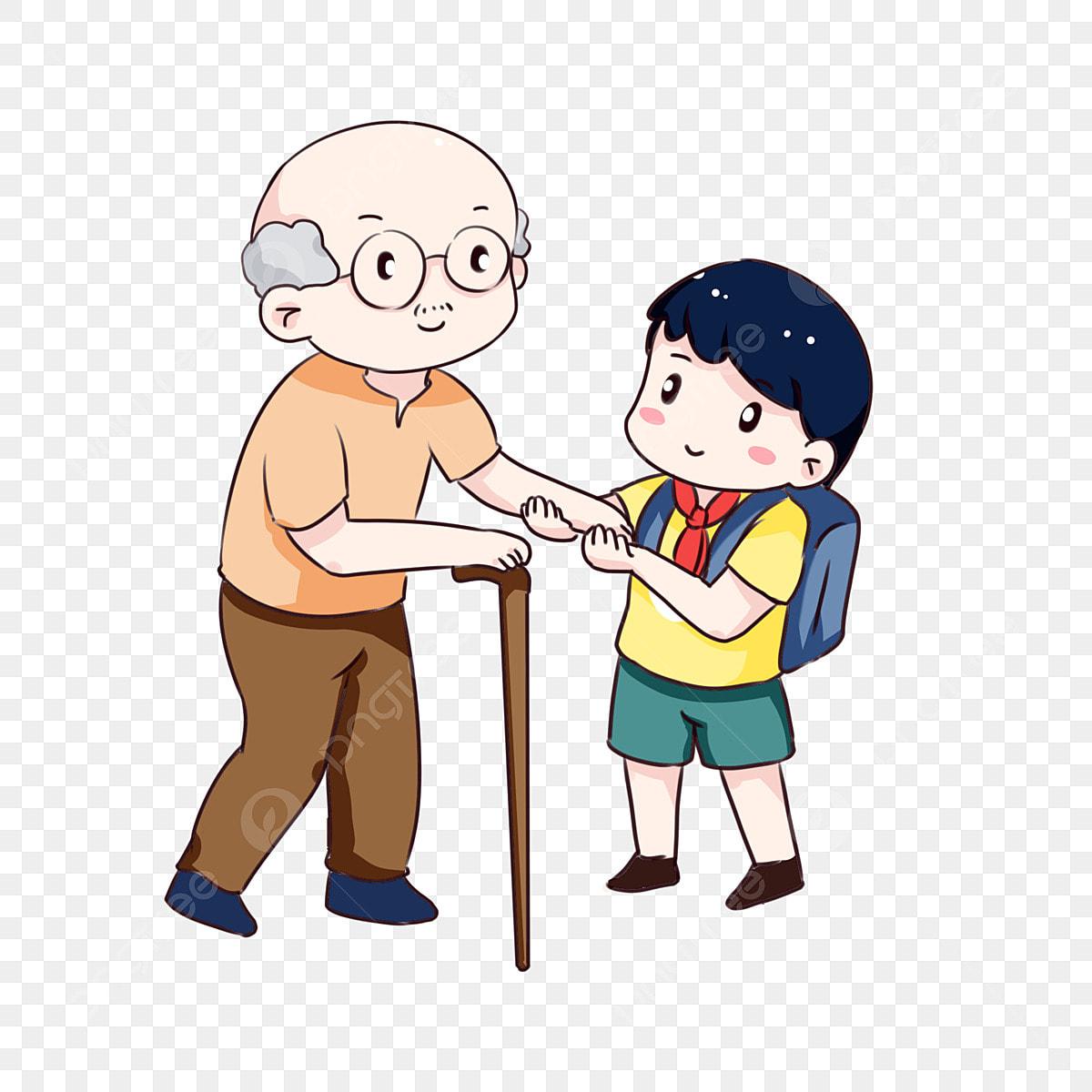 Dibujado A Mano Dibujos Animados Ayudando A Viejo Cruzar La