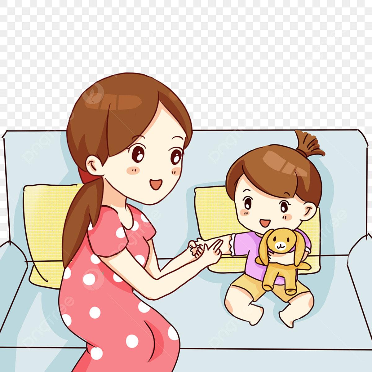 Gambar Tangan Ditarik Kartun Ibu Dan Anak Perempuan Bermain Permainan Ibu Dan Anak Perempuan Permainan Ibu Dan Anak Perempuan Bermain Games Periksa Si Bayi Badan Bayi Comel Permainan Png Dan Psd Untuk