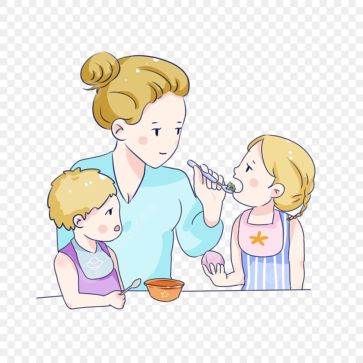 Madre De Dibujos Animados Dibujados A Mano Alimentación Bebé Arroz Madre  Alimentación Al Niño Amor Maternal Niño, La Madre Y El Bebé, Patron  Decorativo, Pintado A Mano Q Version PNG y PSD