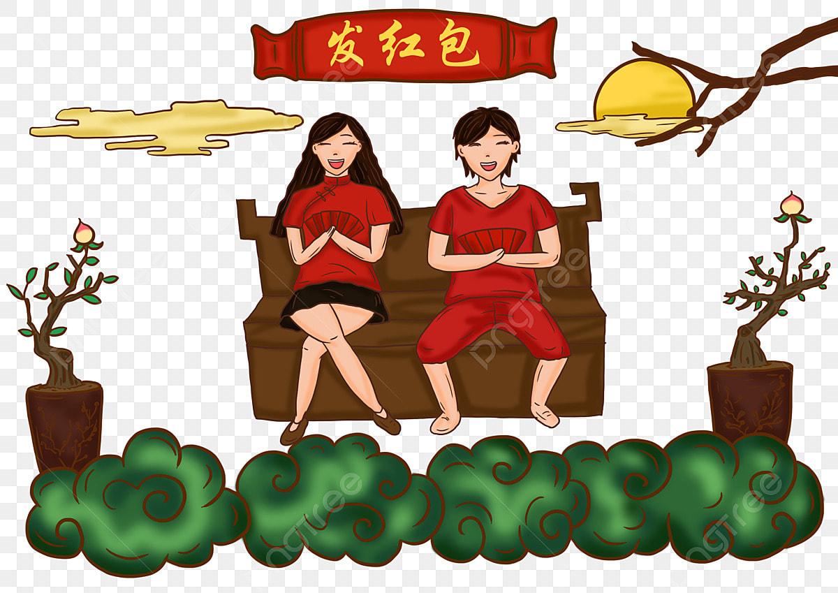 Gambar Lukisan Tangan Kartun Tahun Baru Ilustrasi Retro Musim Bunga Perayaan Sampul Merah Adat Tangan Ditarik Adat Tahun Baru Cina Kartun Musim Sampul Png Dan Psd Untuk Muat Turun Percuma