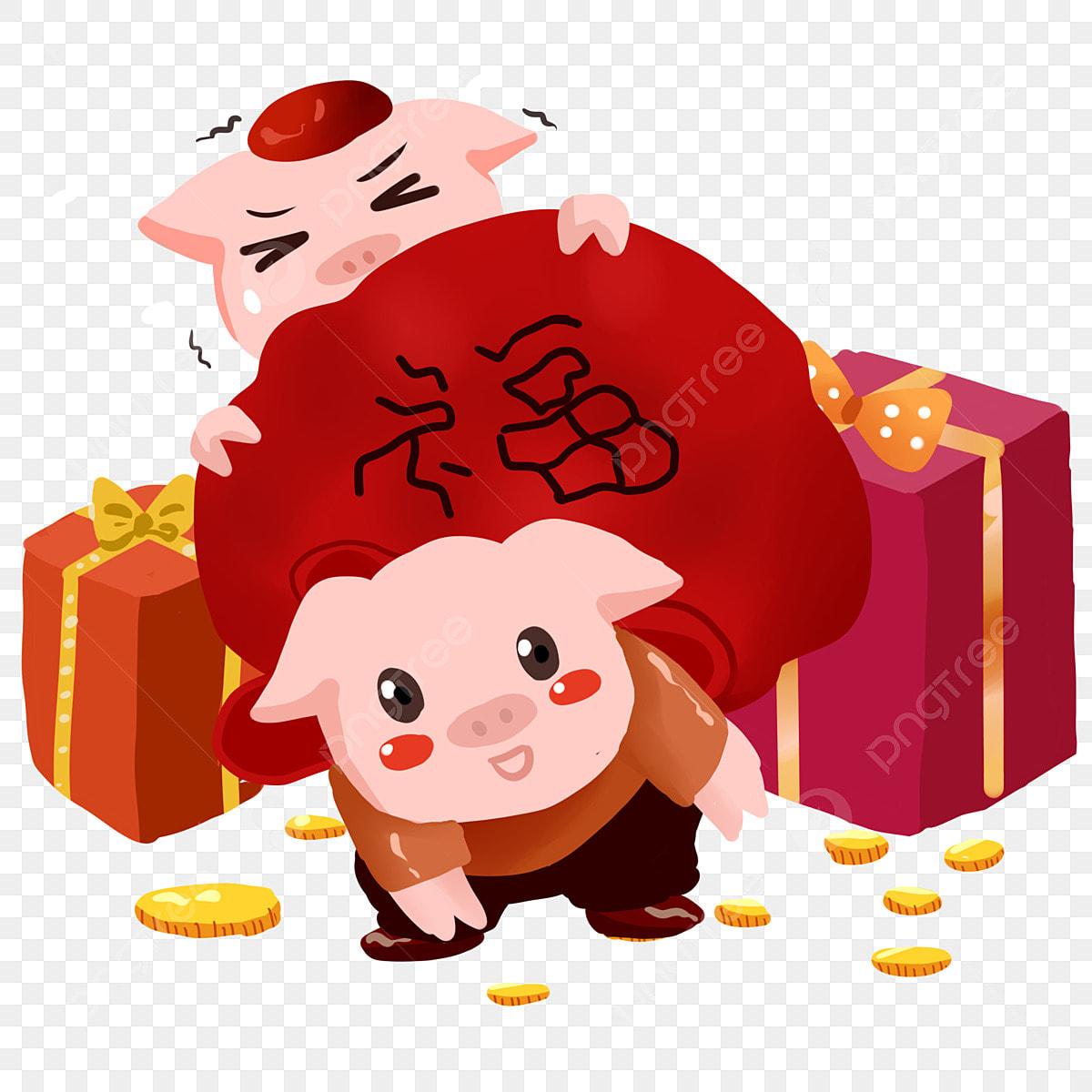 Cochon Dessin Animé Dessiné à La Main Année De Cochon Zodiac