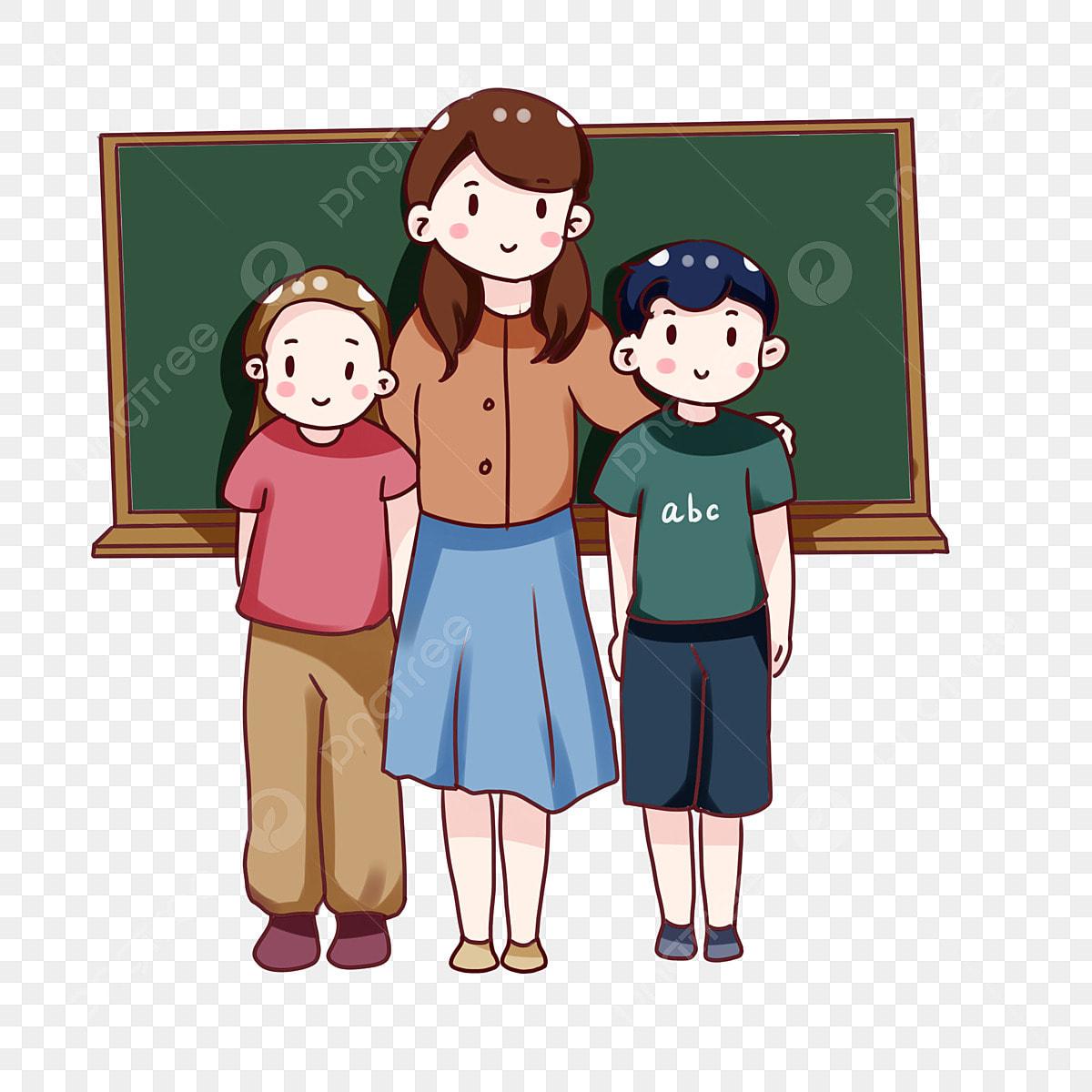 Guru Dan Murid Sekolah Kartun Tangan Foto Guru Dan Pelajar