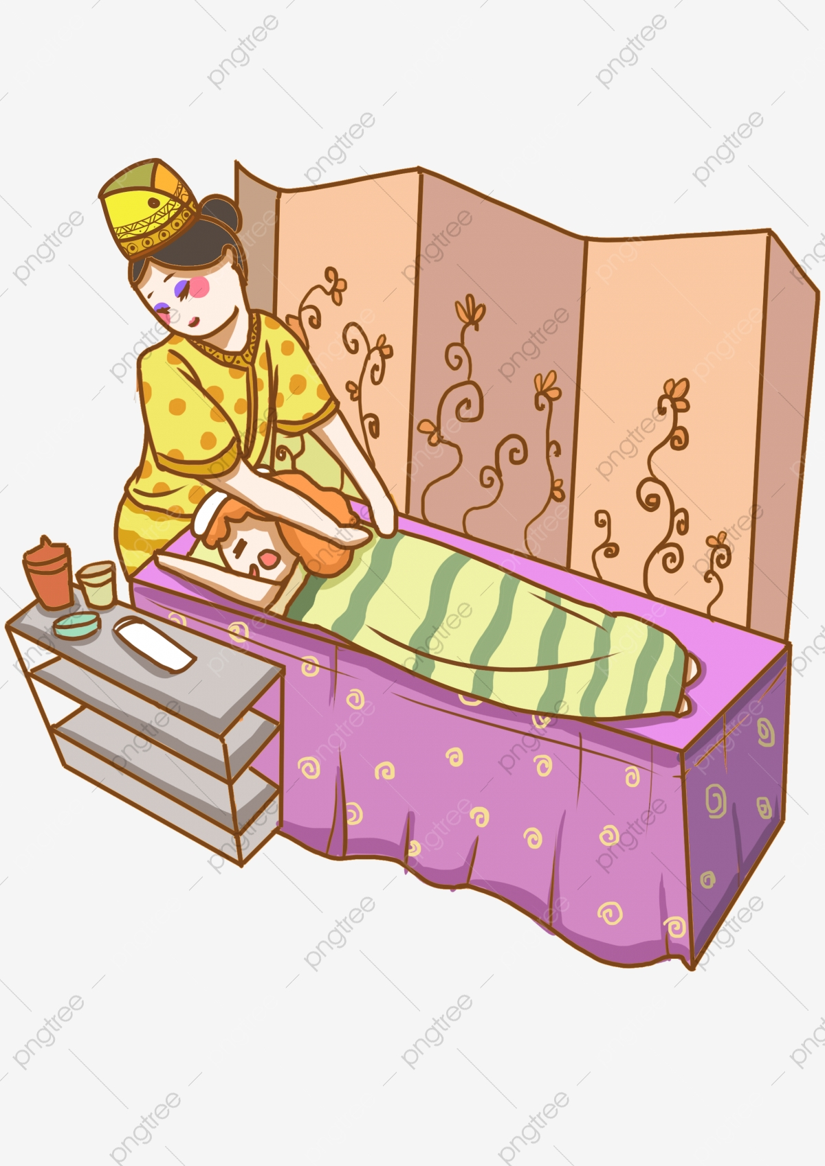 Mao Desenhado Menina Ilustracao Bela Esteticista Para Menina