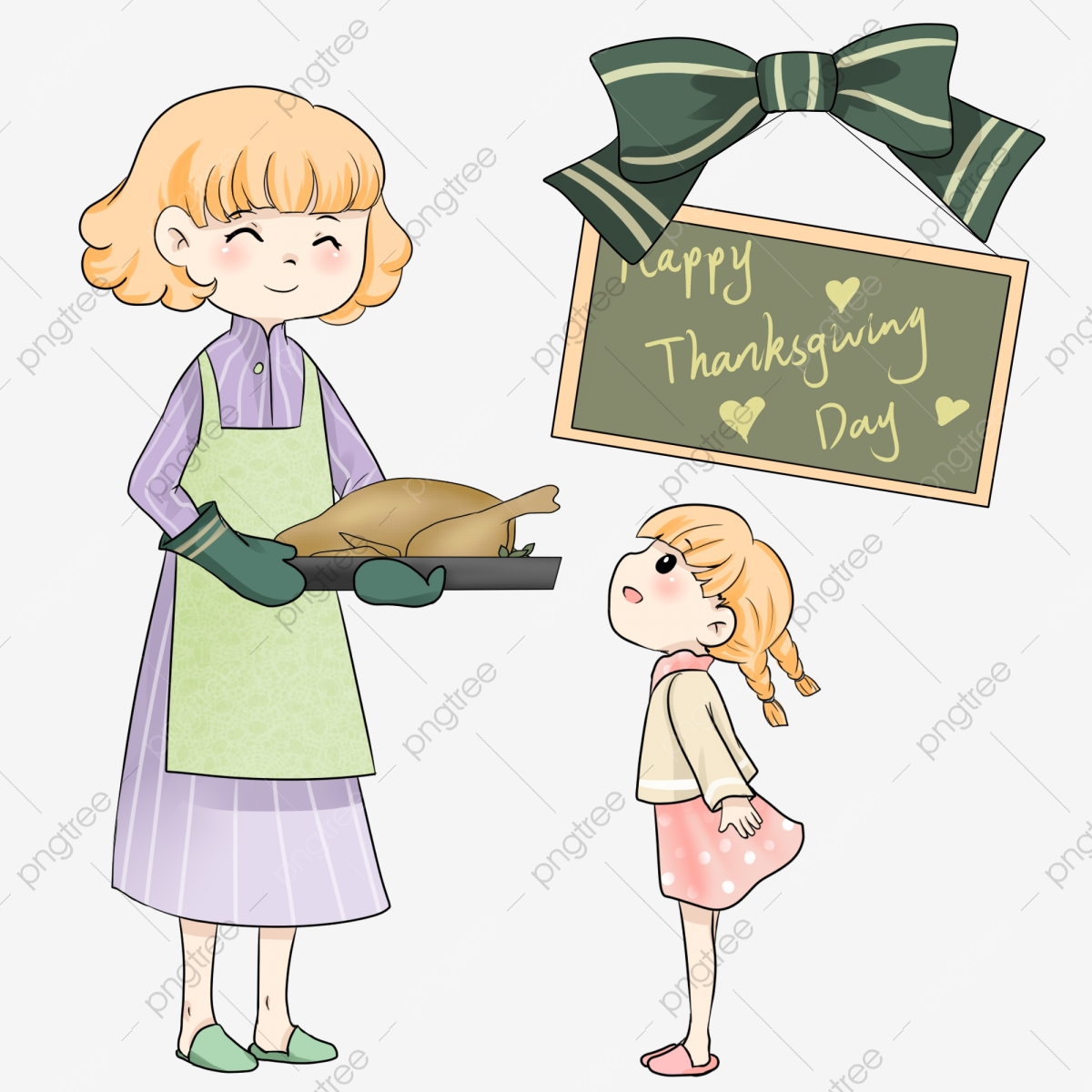 Lukisan Tangan Ibu Dan Anak Perempuan Thanksgiving Ibu