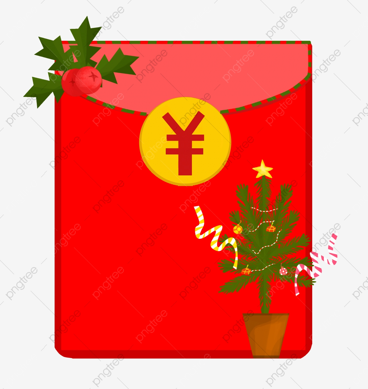 Hand Drawn Red Envelope Illustration Green Christmas Tree