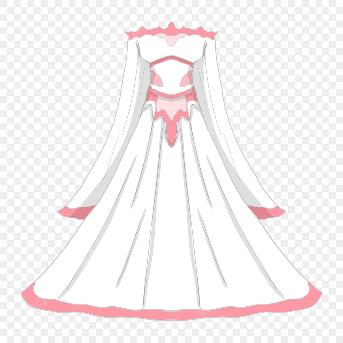 Mão Desenhada Ilustração Do Casamento Vestido De Noiva Rosa