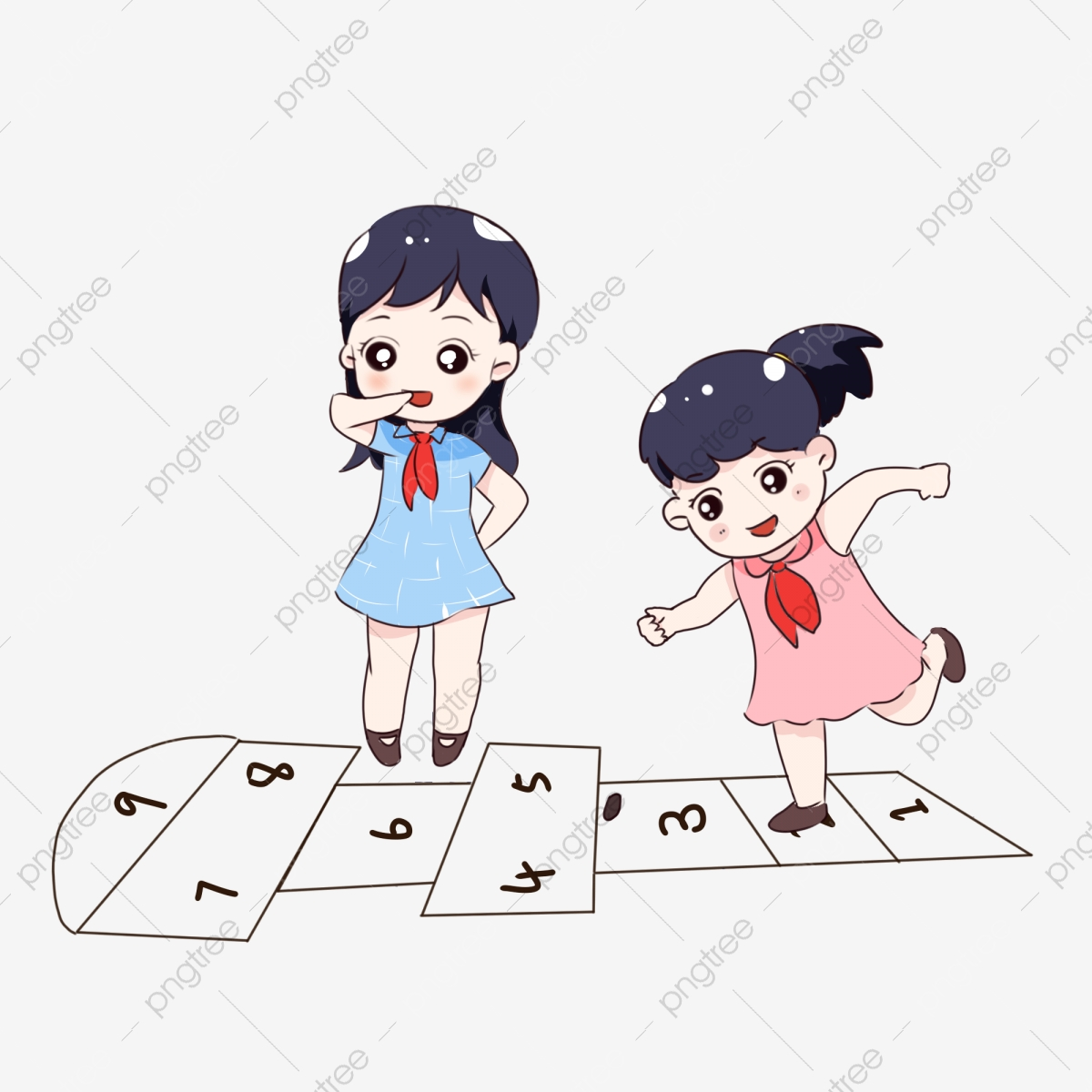 Hand Painted Cartoon Childrens Day Jumping Plaid Game