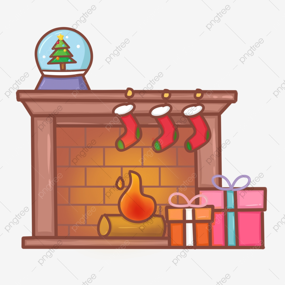 Hand Painted Cartoon Christmas Fireplace Stove, Christmas