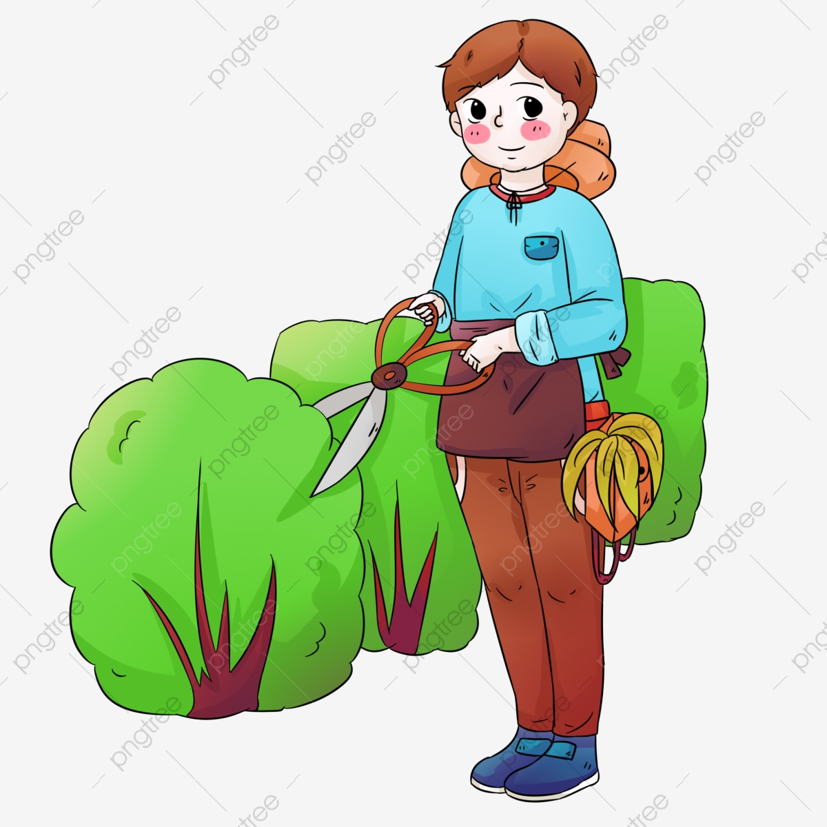 Hand Painted Cut Green Hand Drawn Gardening Outdoor Mowing Gardening Cartoon Png Transparent Clipart Image And Psd File For Free Download