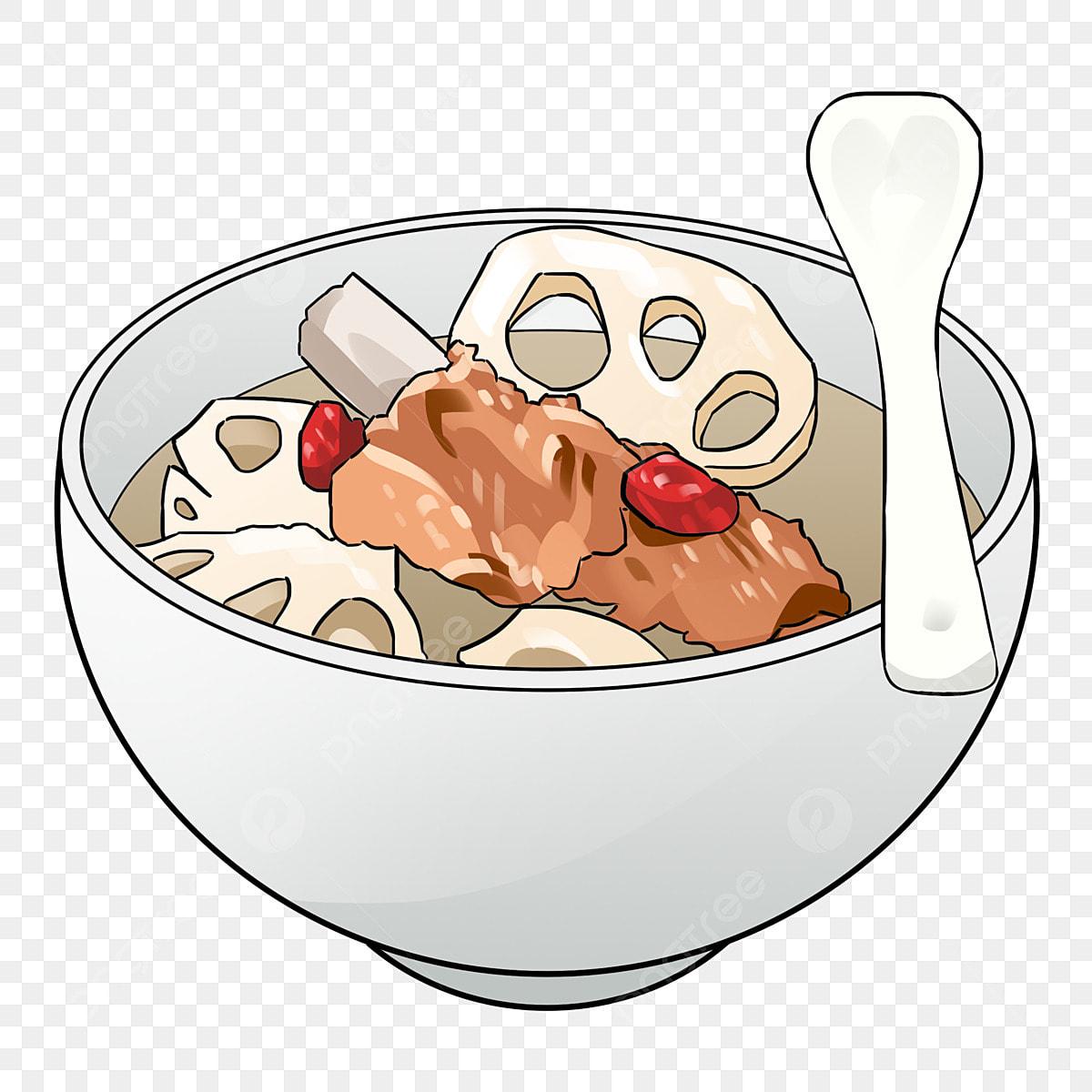 Tangan Ditarik Makanan Lotus Akar Rebus Daging Babi Rebus Akar